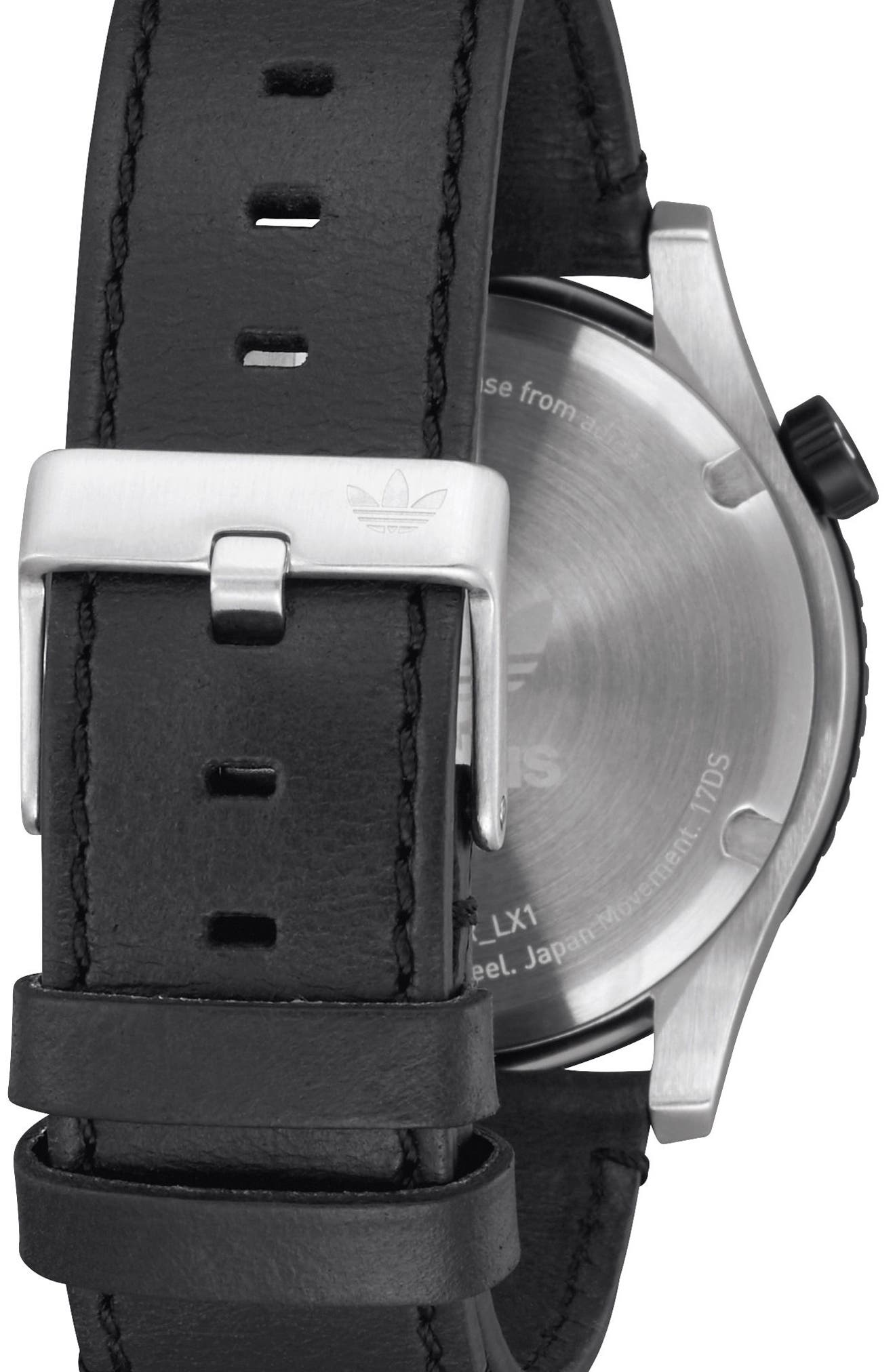 ADIDAS, Cypher Leather Strap Watch, 42mm, Alternate thumbnail 2, color, SILVER/ BLACK/ GREEN