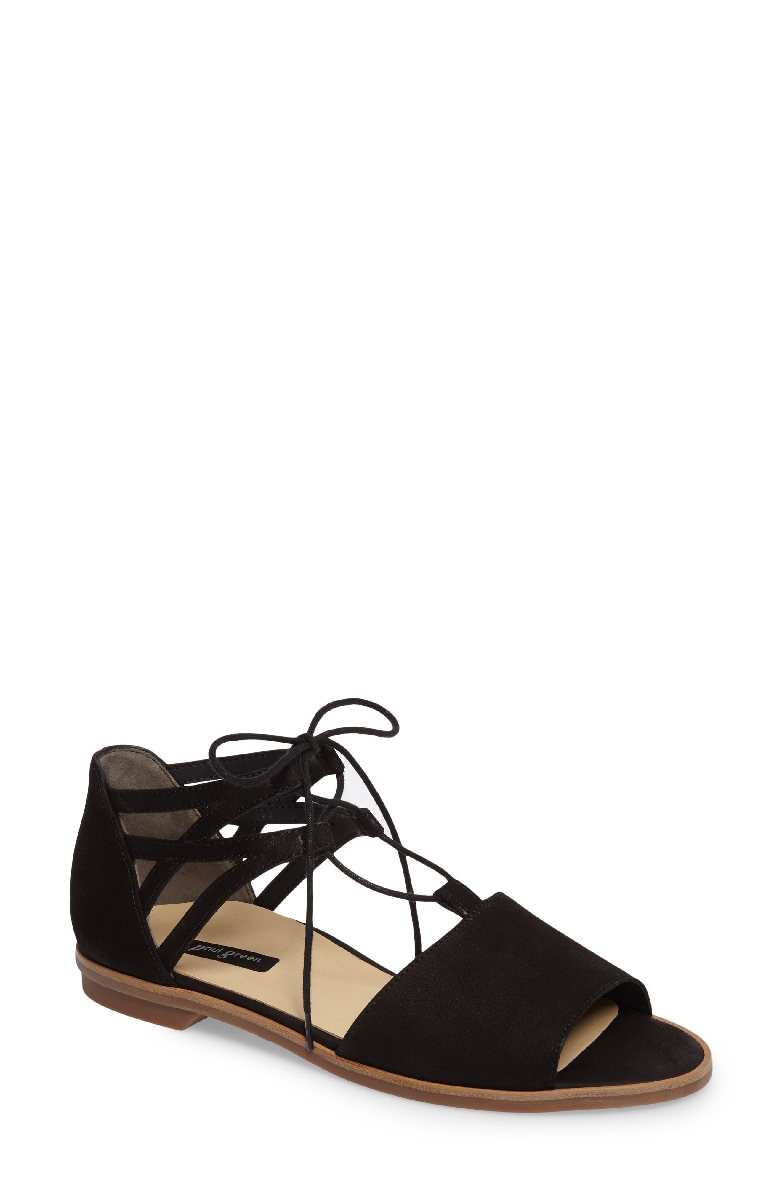 PAUL GREEN Morea Lace-Up Sandal, Main, color, BLACK LEATHER