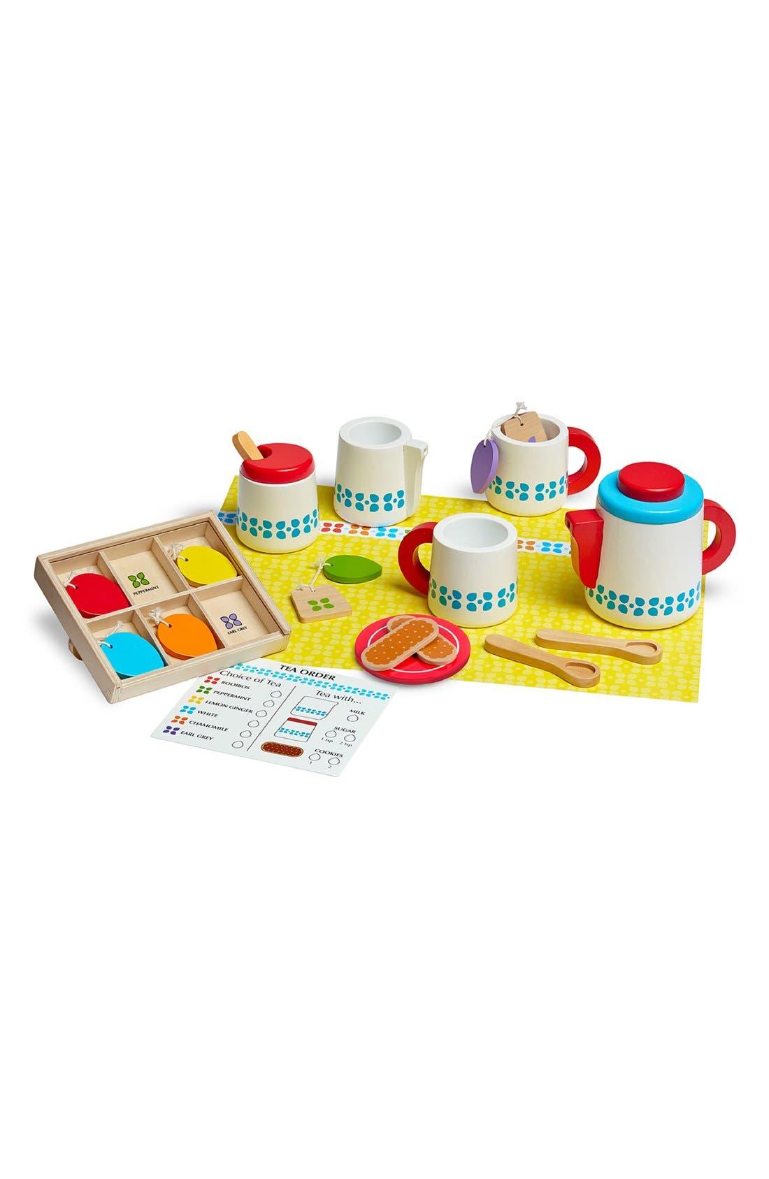 MELISSA & DOUG, 'Steep & Serve' Wooden Tea Set, Alternate thumbnail 2, color, MULTI