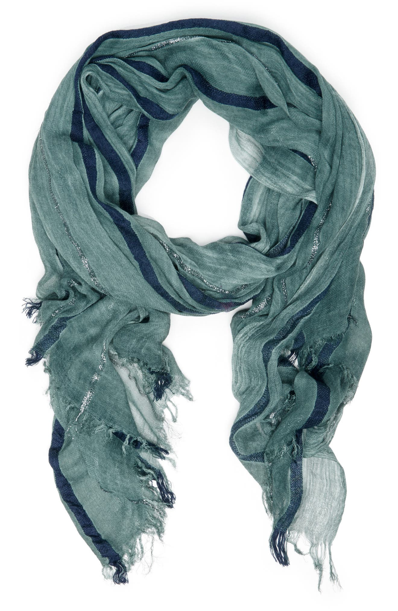 SOLE SOCIETY, Lightweight Stripe Scarf, Main thumbnail 1, color, EMERALD