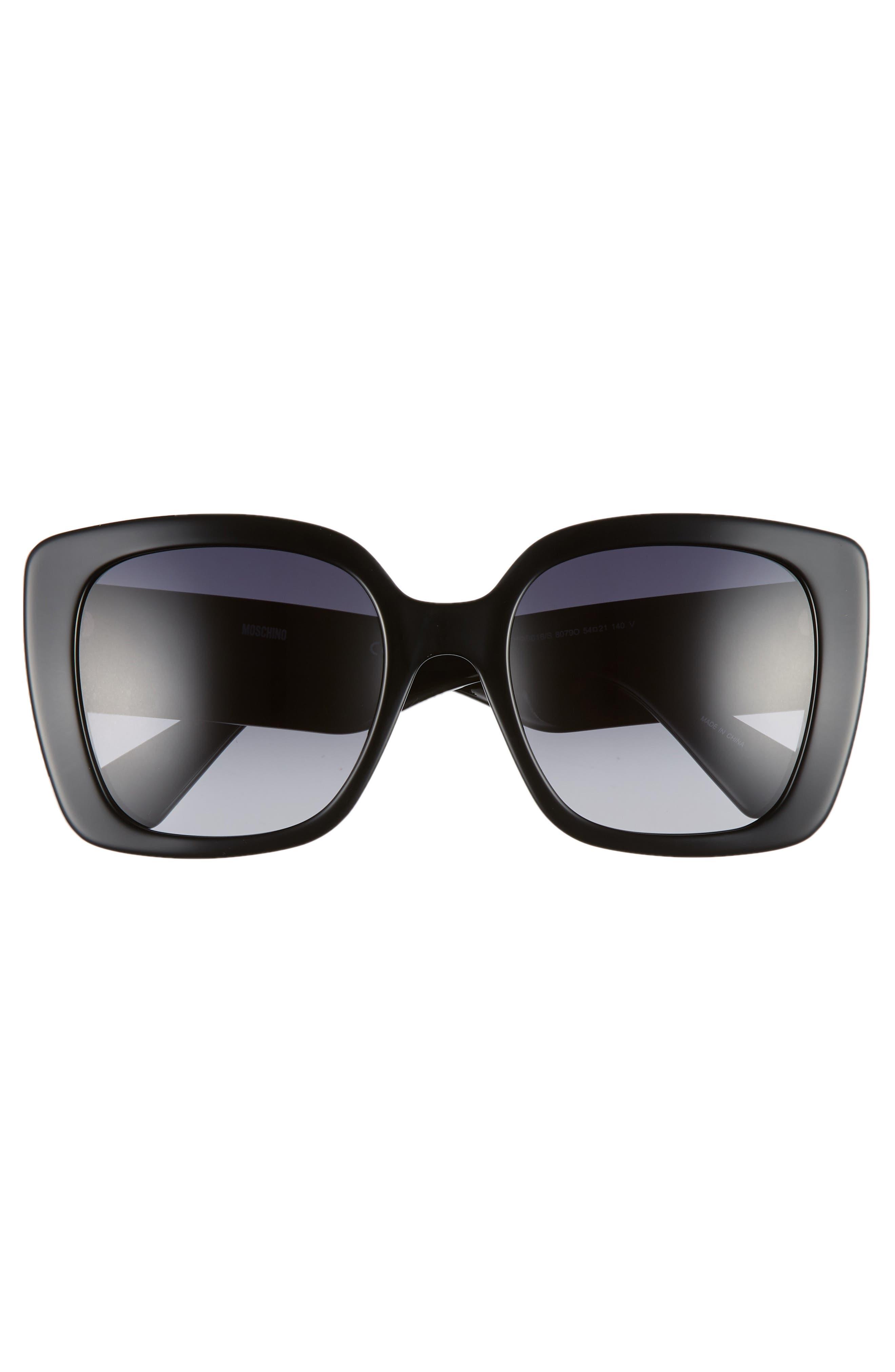 MOSCHINO, 54mm Square Sunglasses, Alternate thumbnail 3, color, BLACK