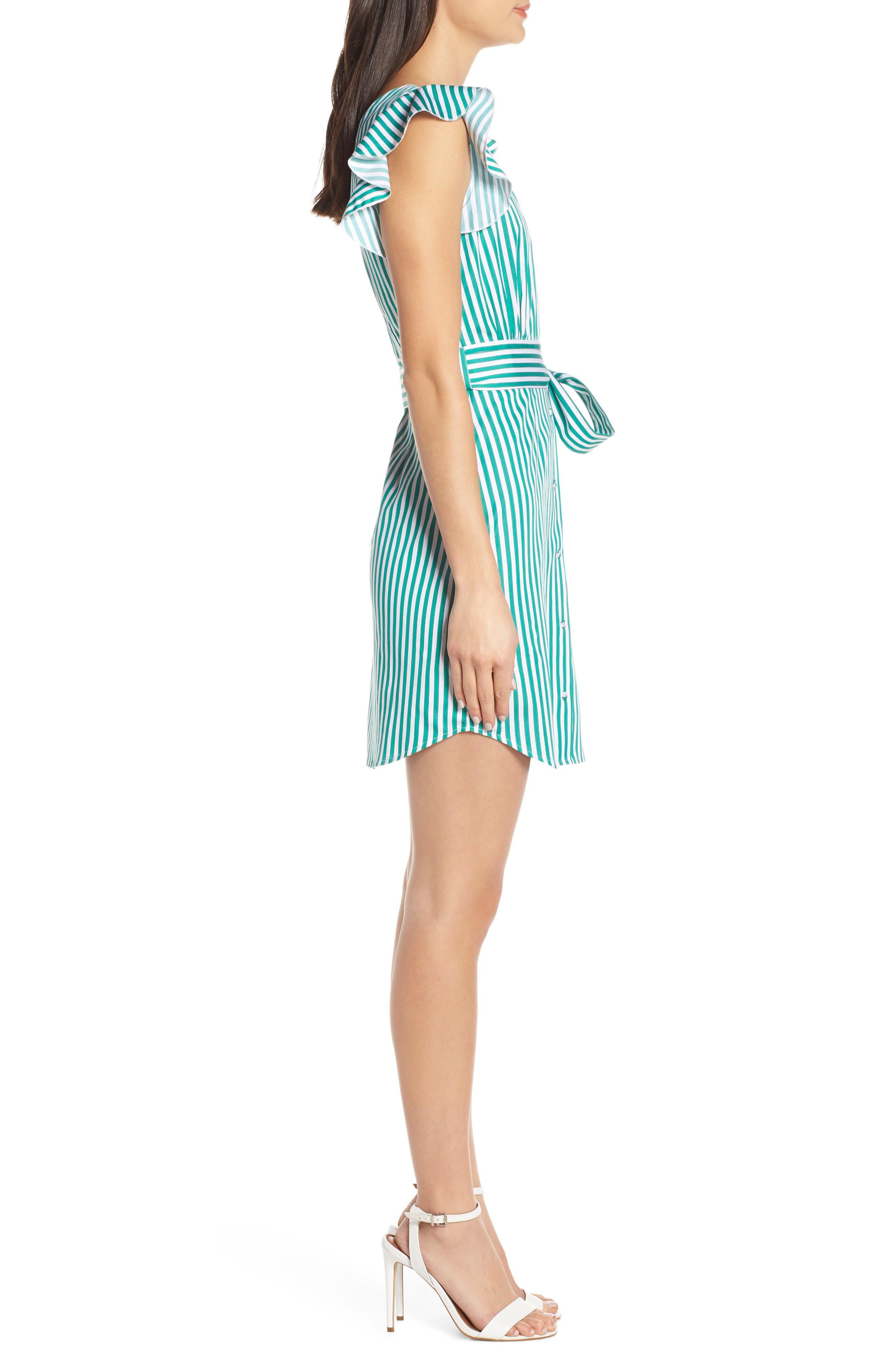 BB DAKOTA, Peppermint Stripe Dress, Alternate thumbnail 4, color, MISTY JADE