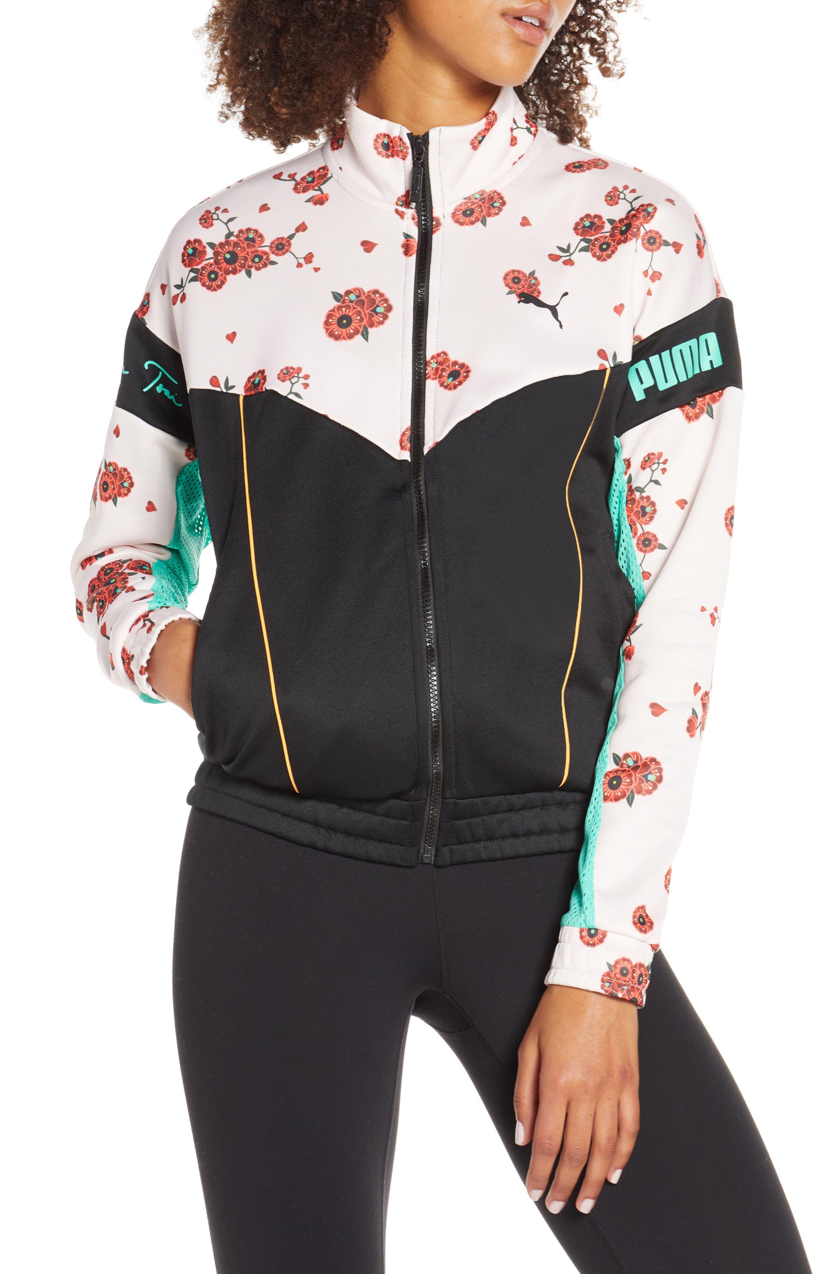 PUMA, x Sue Tsai XTG Floral Track Jacket, Alternate thumbnail 5, color, 300