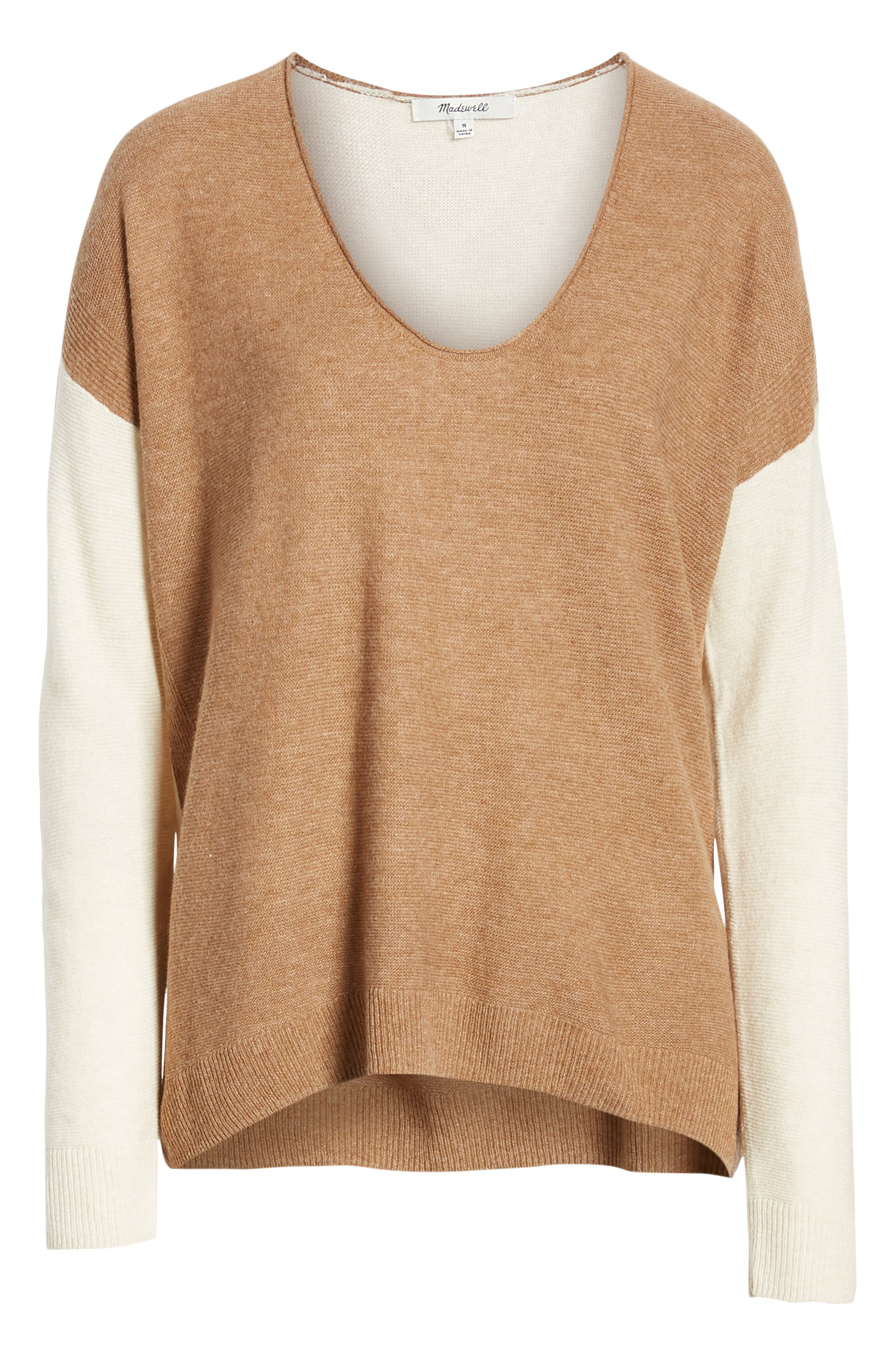 MADEWELL, Kimball Colorblock Sweater, Alternate thumbnail 6, color, 021