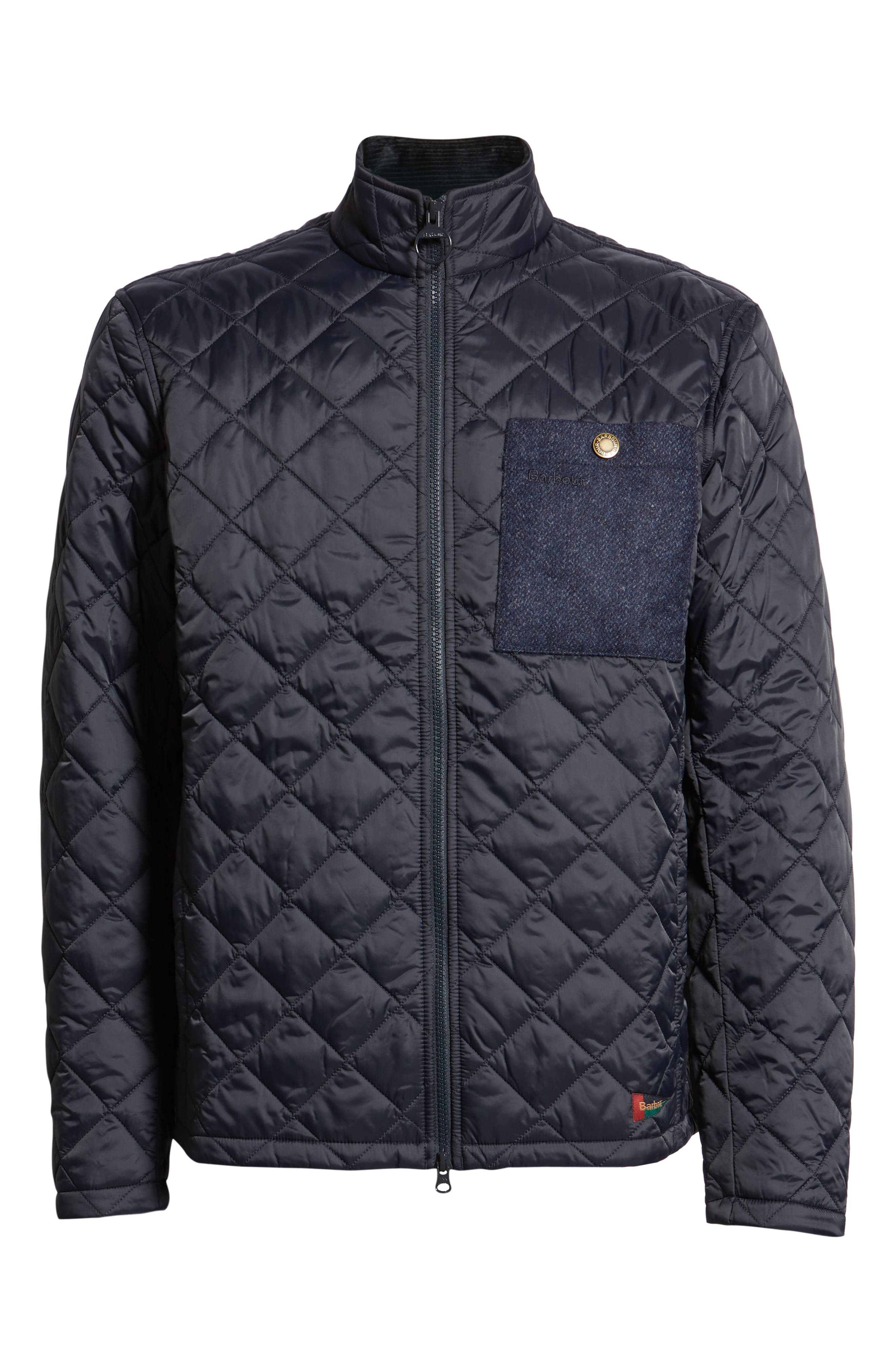 BARBOUR, Barbout Abaft Quilted Jacket, Alternate thumbnail 6, color, NAVY