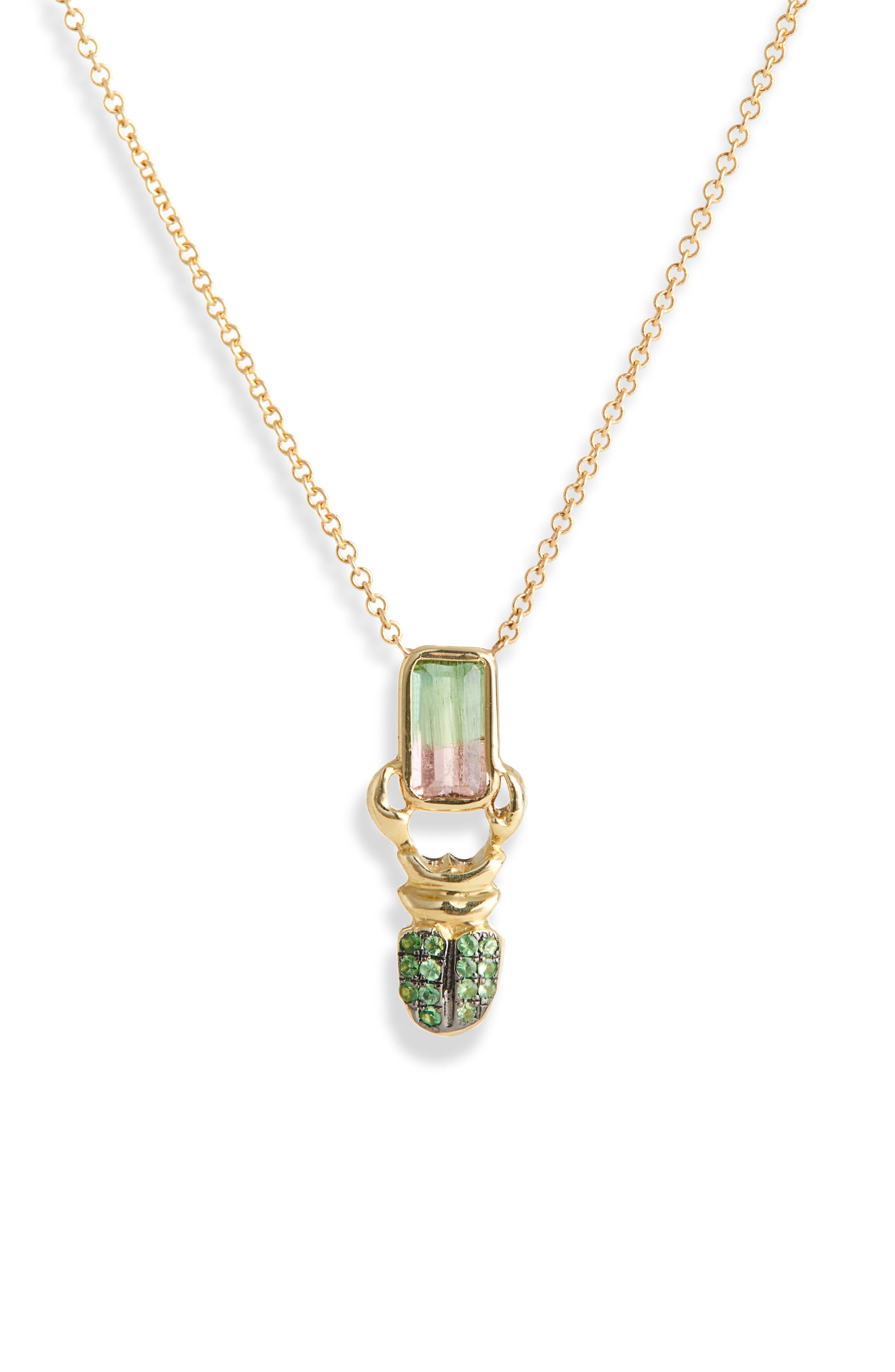 DANIELA VILLEGAS Khepri Watermelon Tourmaline & Tsavorite Pendant Necklace, Main, color, GOLD
