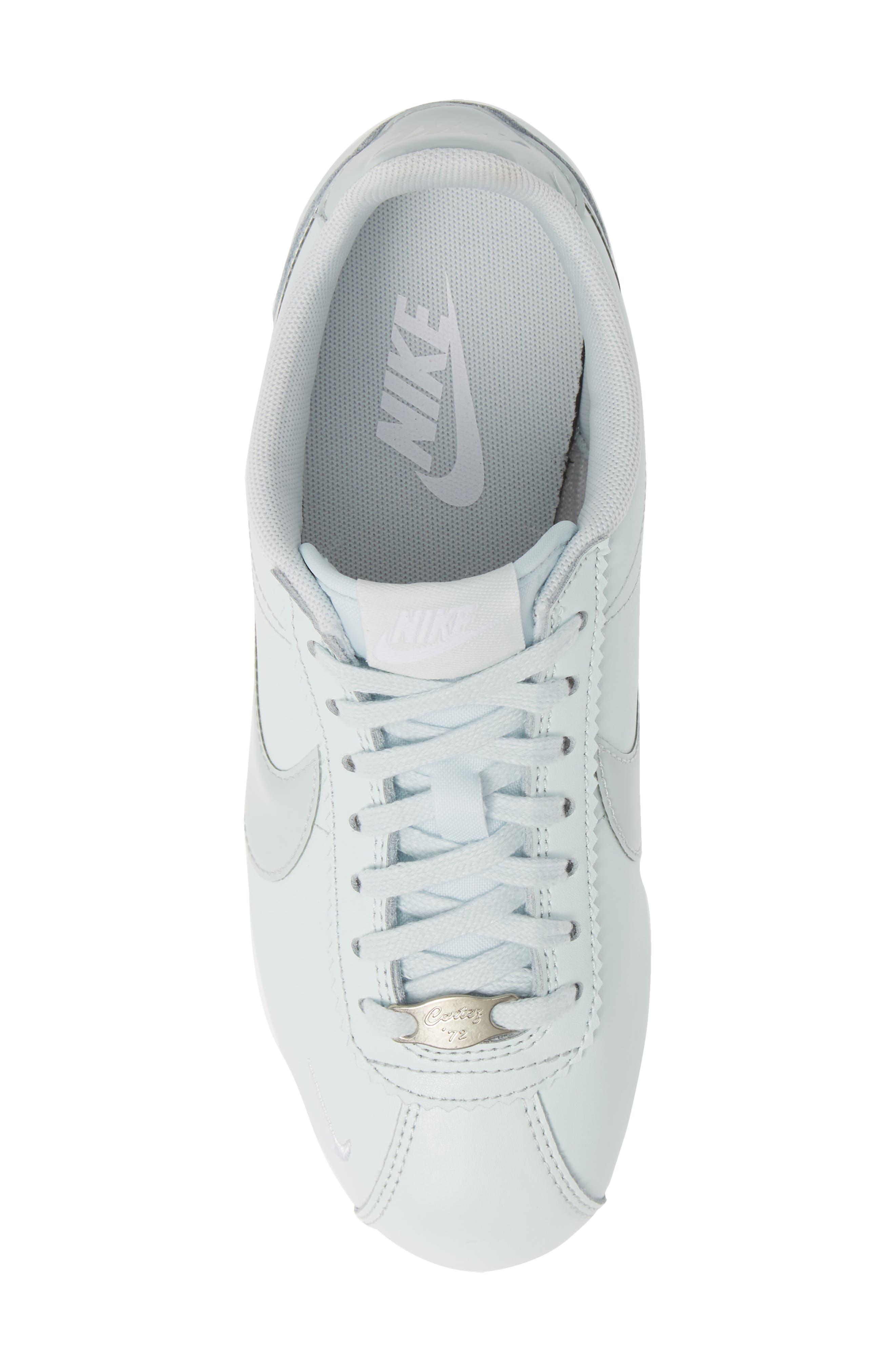NIKE, Classic Cortez Premium XLV Sneaker, Alternate thumbnail 5, color, BARELY GREY/ WHITE