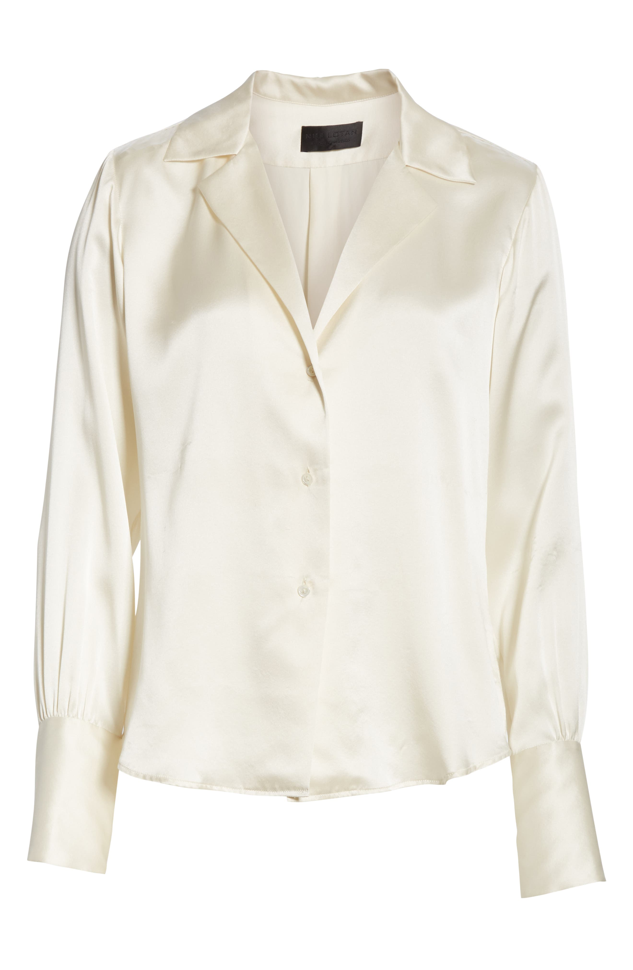NILI LOTAN, Emmen Silk Shirt, Alternate thumbnail 6, color, IVORY