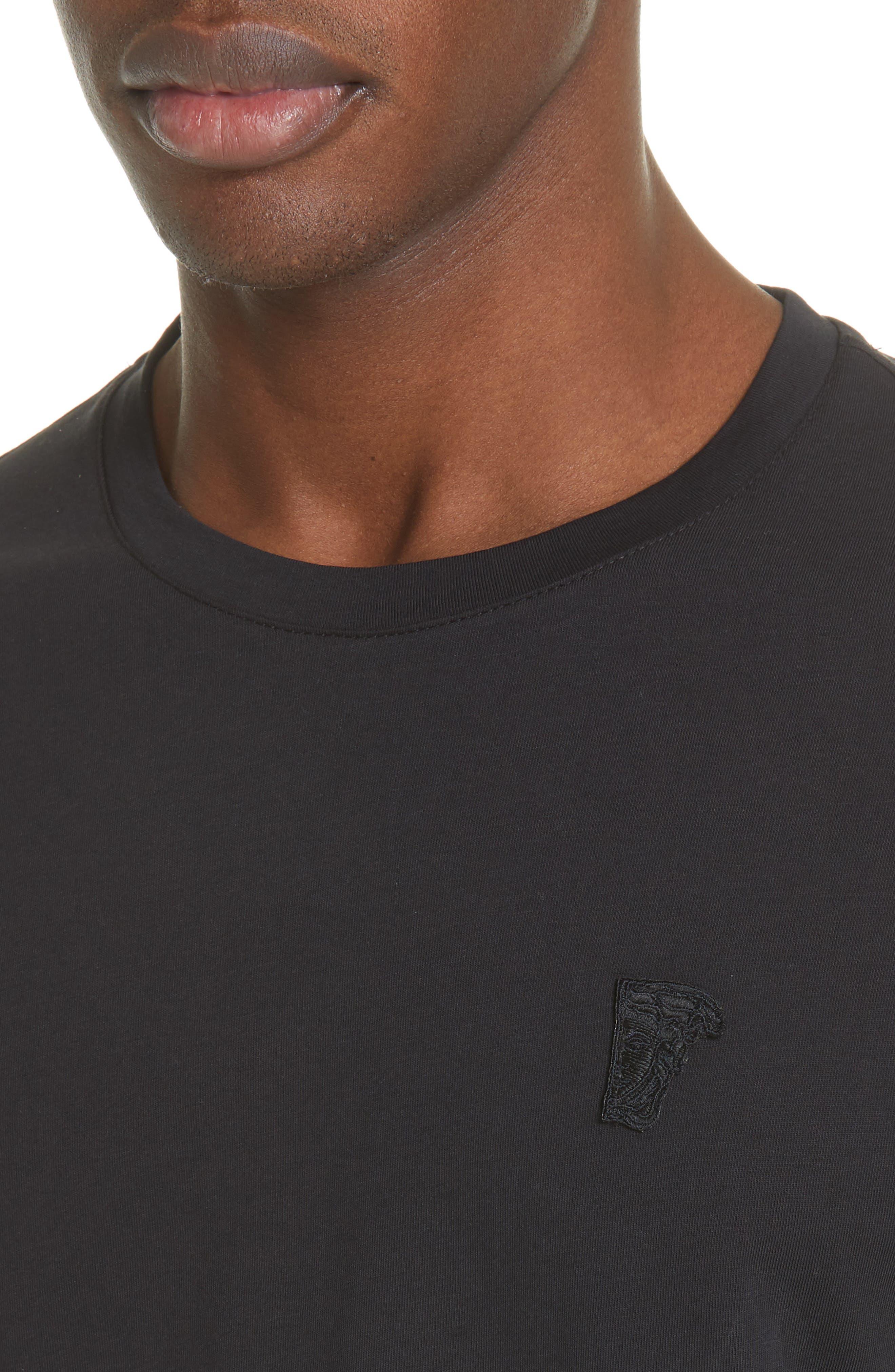VERSACE COLLECTION, Medusa Long Sleeve T-Shirt, Alternate thumbnail 4, color, 001