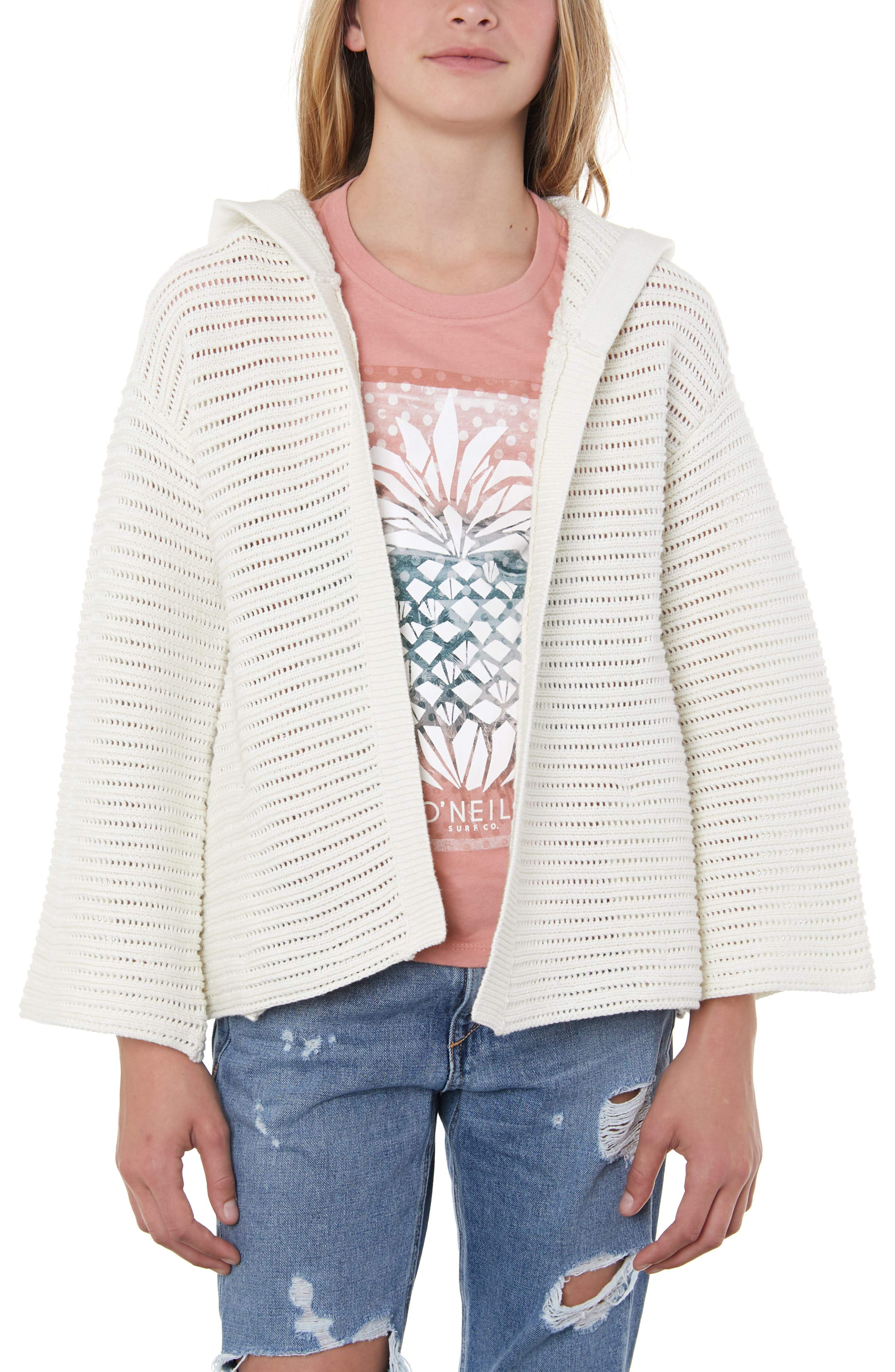 O'NEILL, Bayline Hooded Cardigan Sweater, Alternate thumbnail 2, color, NAKED