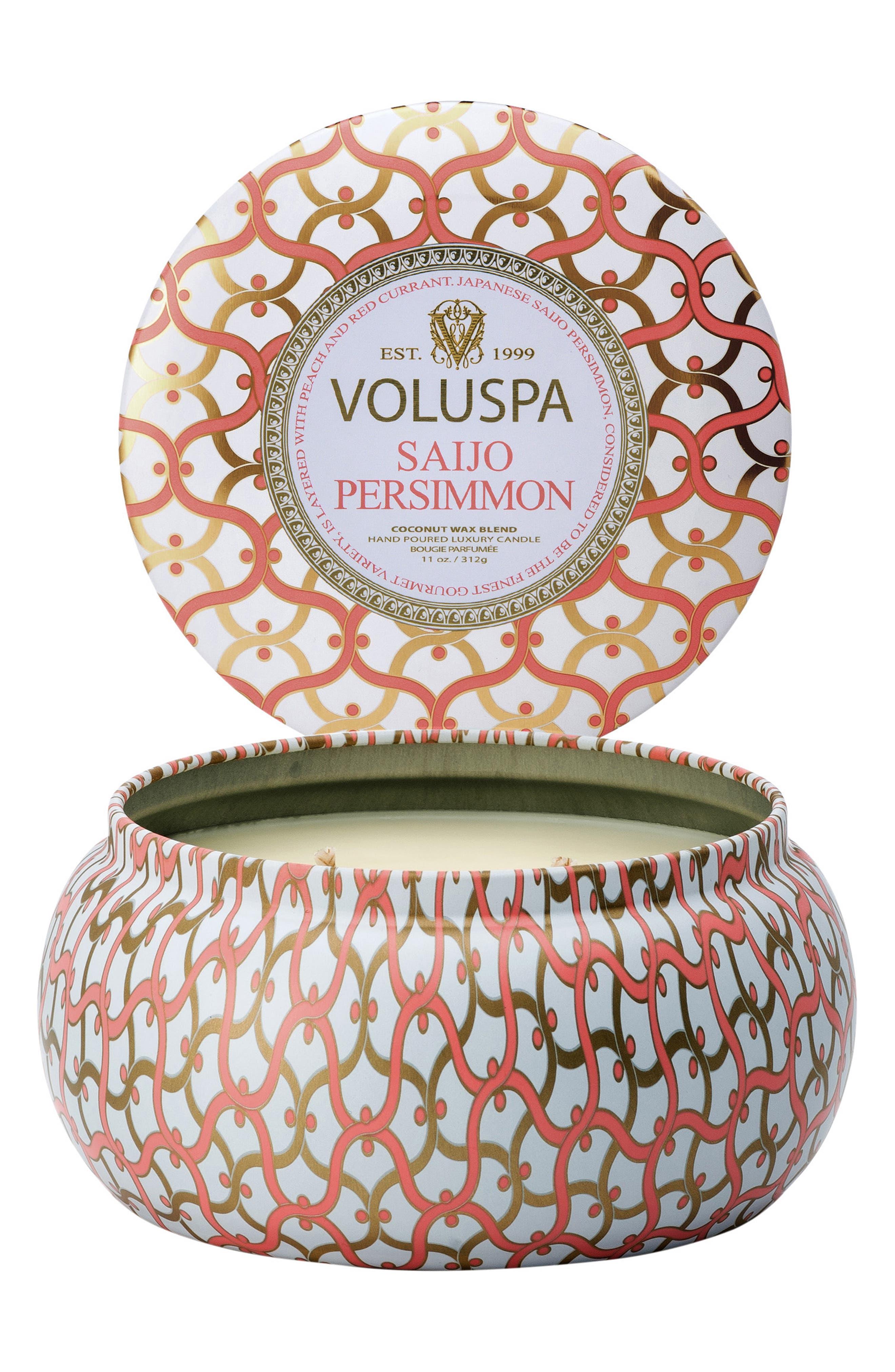 VOLUSPA, Maison Blanc Saijo Persimmon Maison Metallo 2-Wick Candle, Alternate thumbnail 2, color, NO COLOR