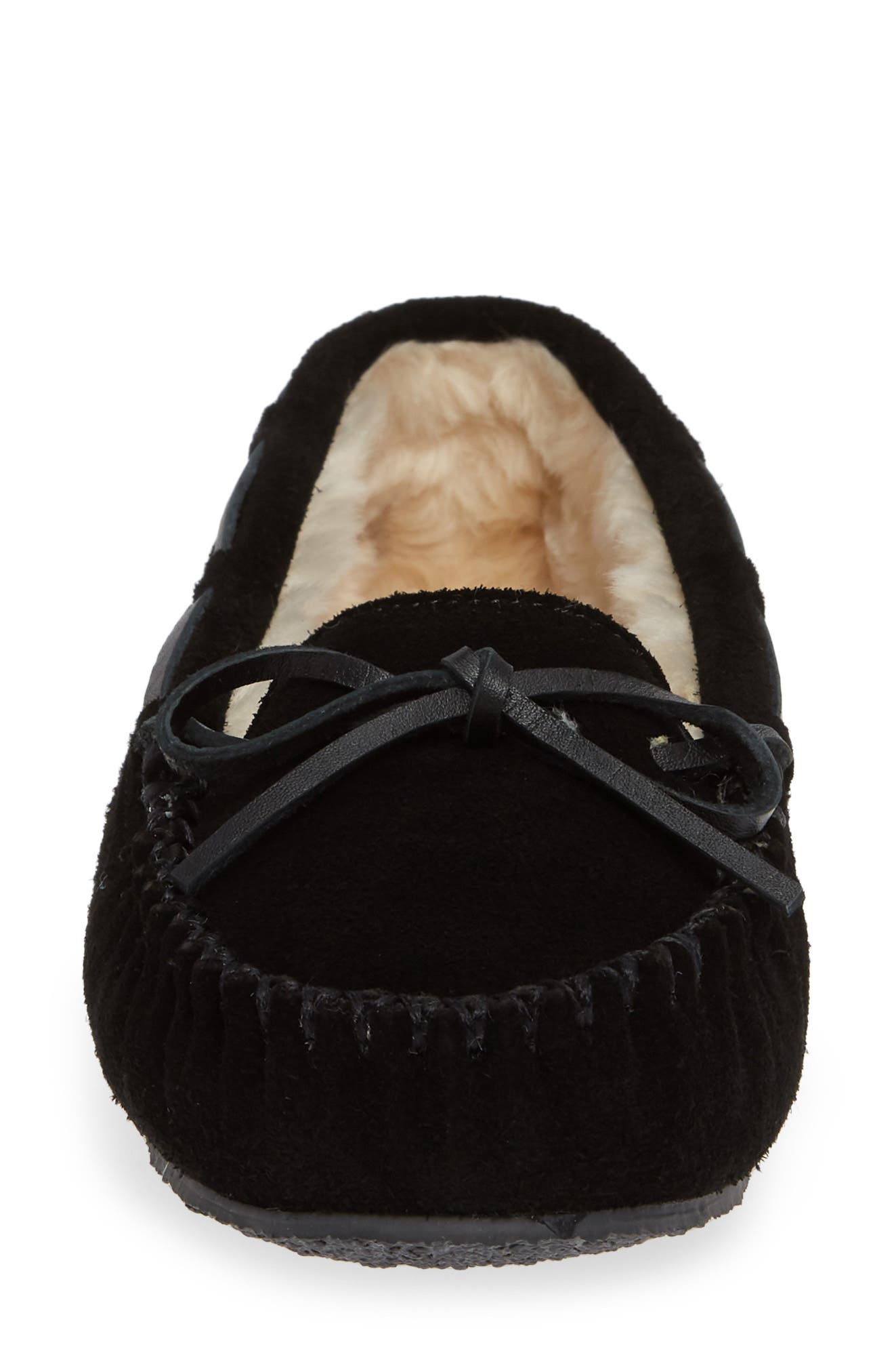 MINNETONKA, 'Cally' Slipper, Alternate thumbnail 4, color, BLACK SUEDE