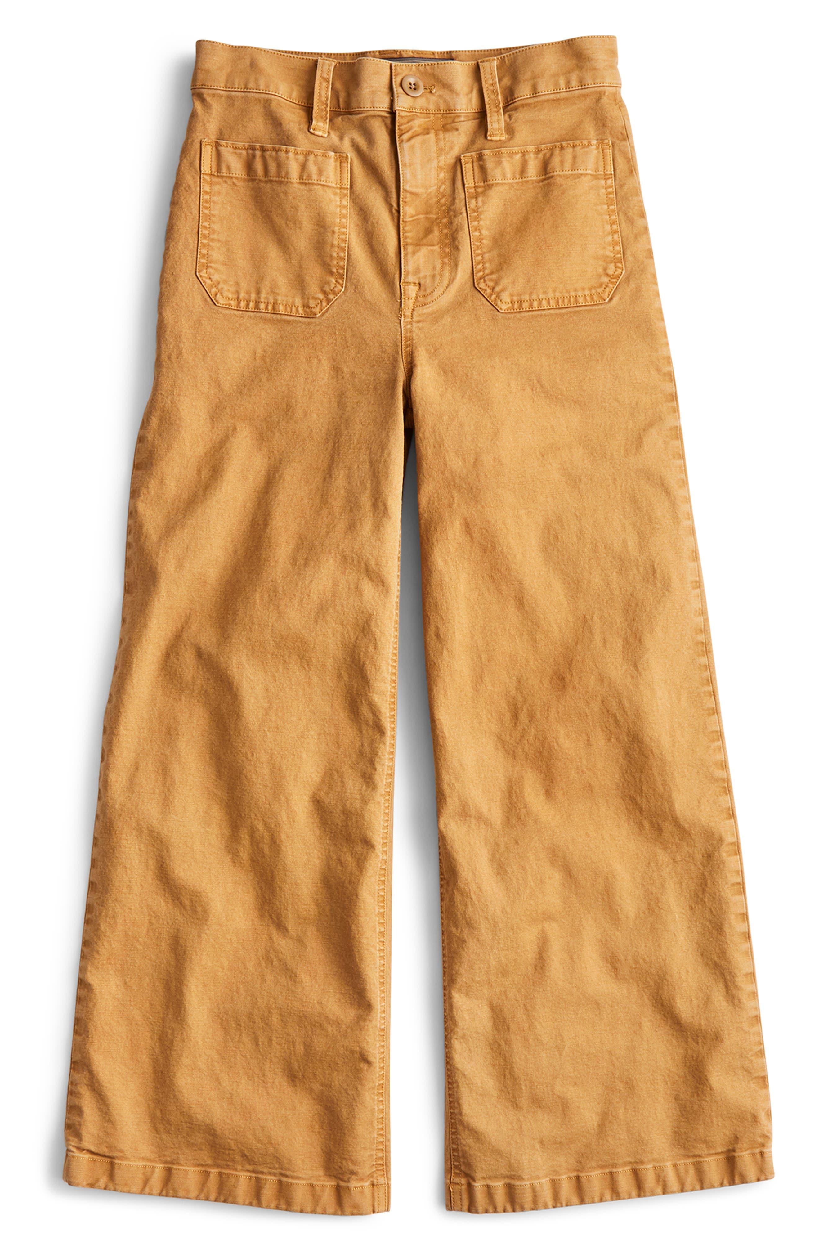 J.CREW, Point Sur Washed Wide Leg Crop Pants, Alternate thumbnail 6, color, CARAMEL