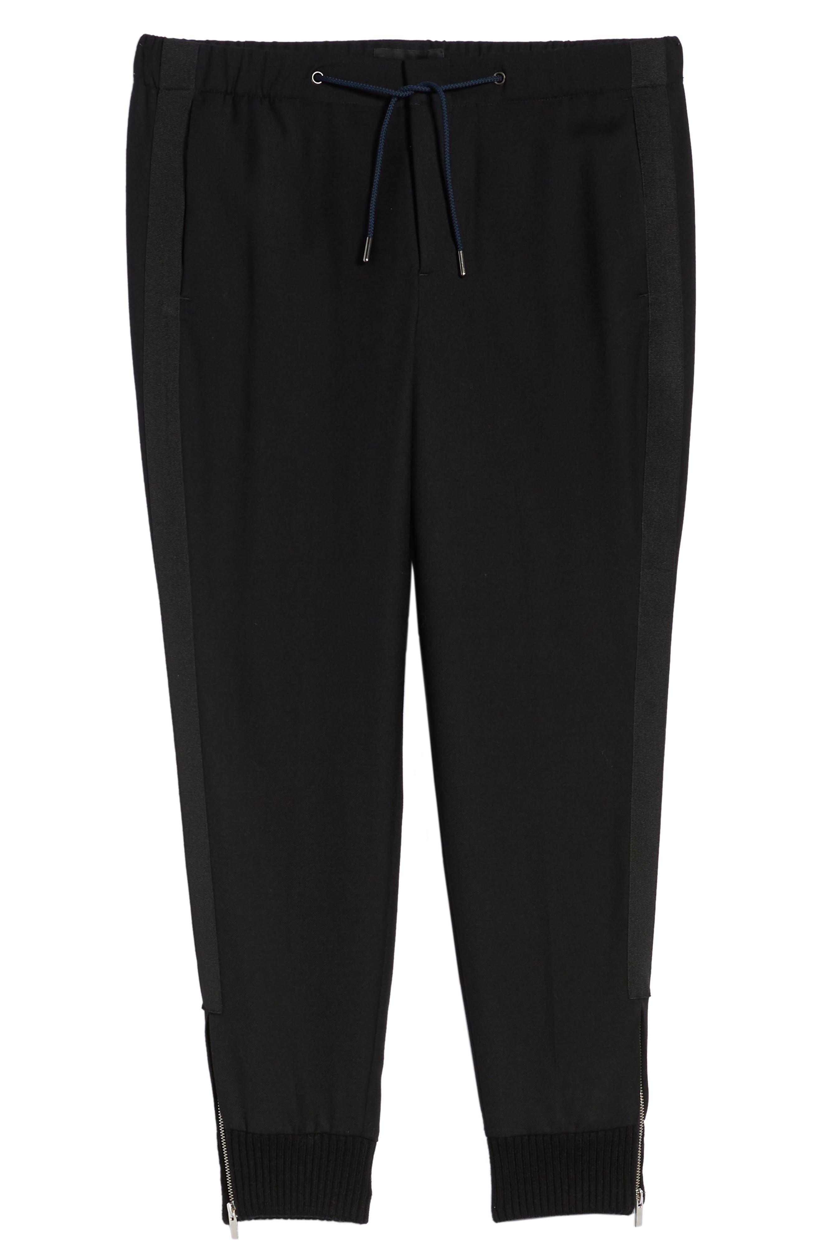 THE KOOPLES, Straight Leg Woven Jogger Pants, Alternate thumbnail 7, color, BLACK