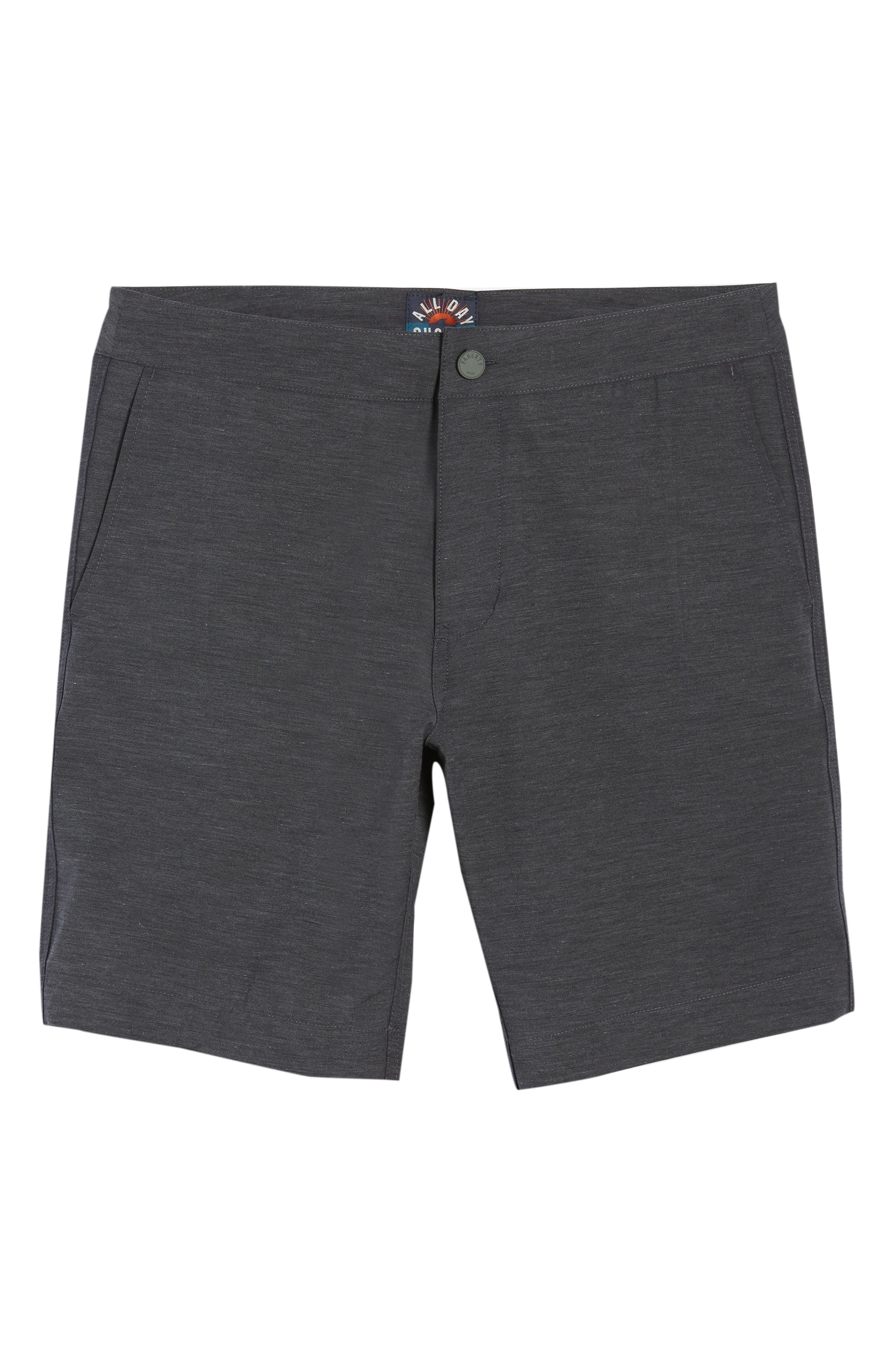 FAHERTY, All Day Flat Front Shorts, Alternate thumbnail 6, color, CHARCOAL
