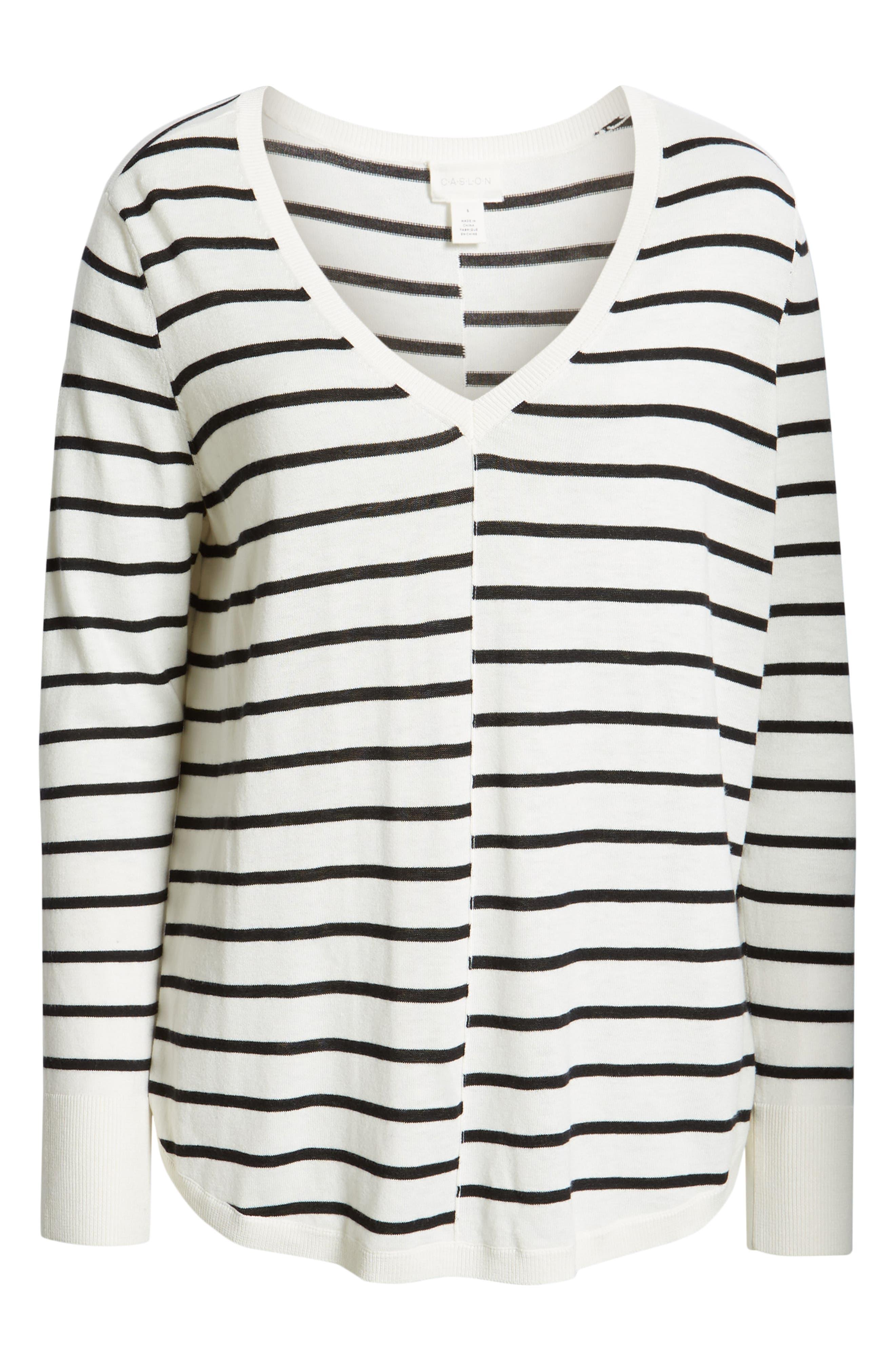 CASLON<SUP>®</SUP>, High-Low V-neck Sweater, Alternate thumbnail 6, color, IVORY- BLACK PRITHI STRIPE