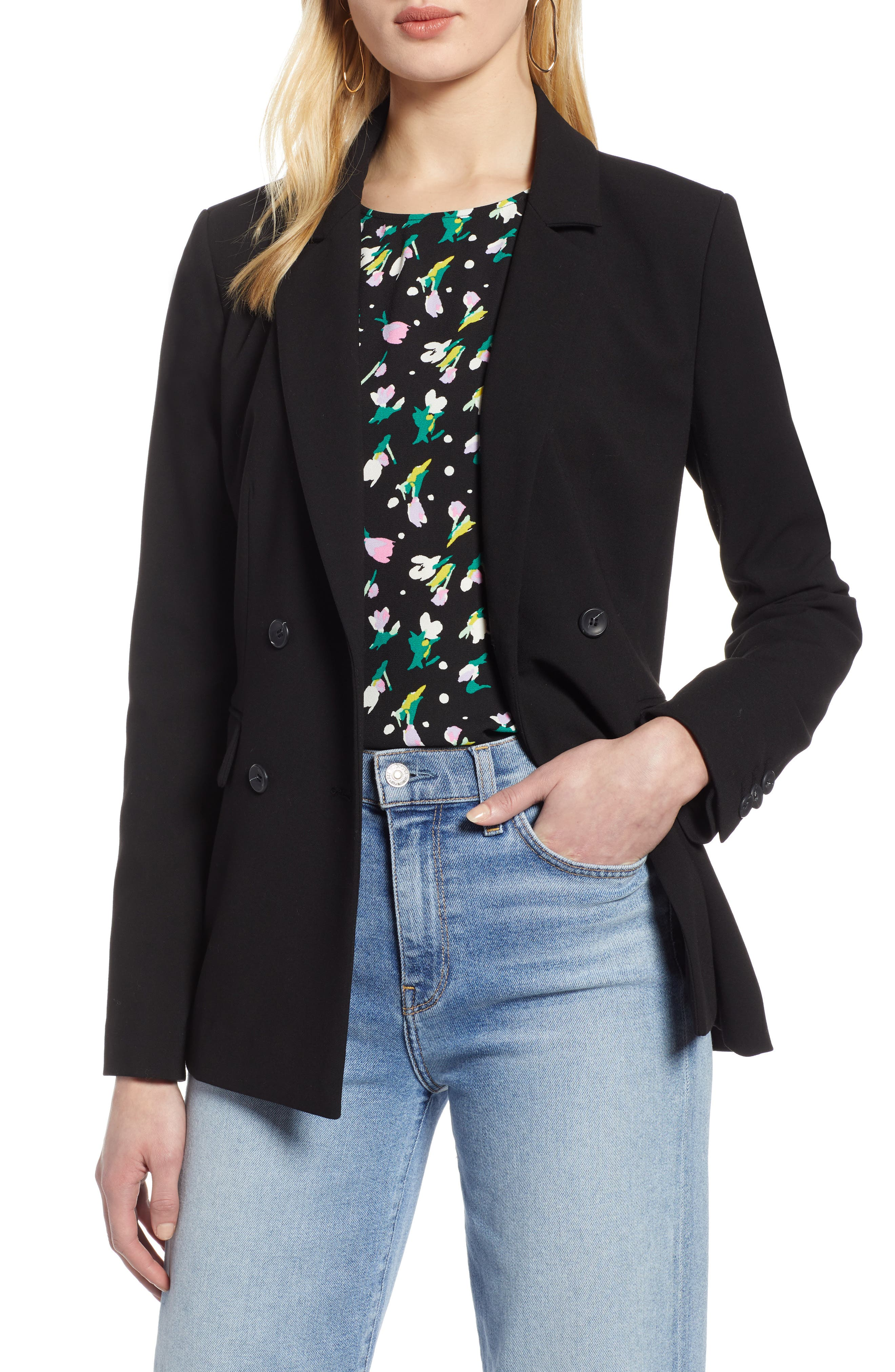 HALOGEN<SUP>®</SUP>, Double Breasted Blazer, Main thumbnail 1, color, BLACK