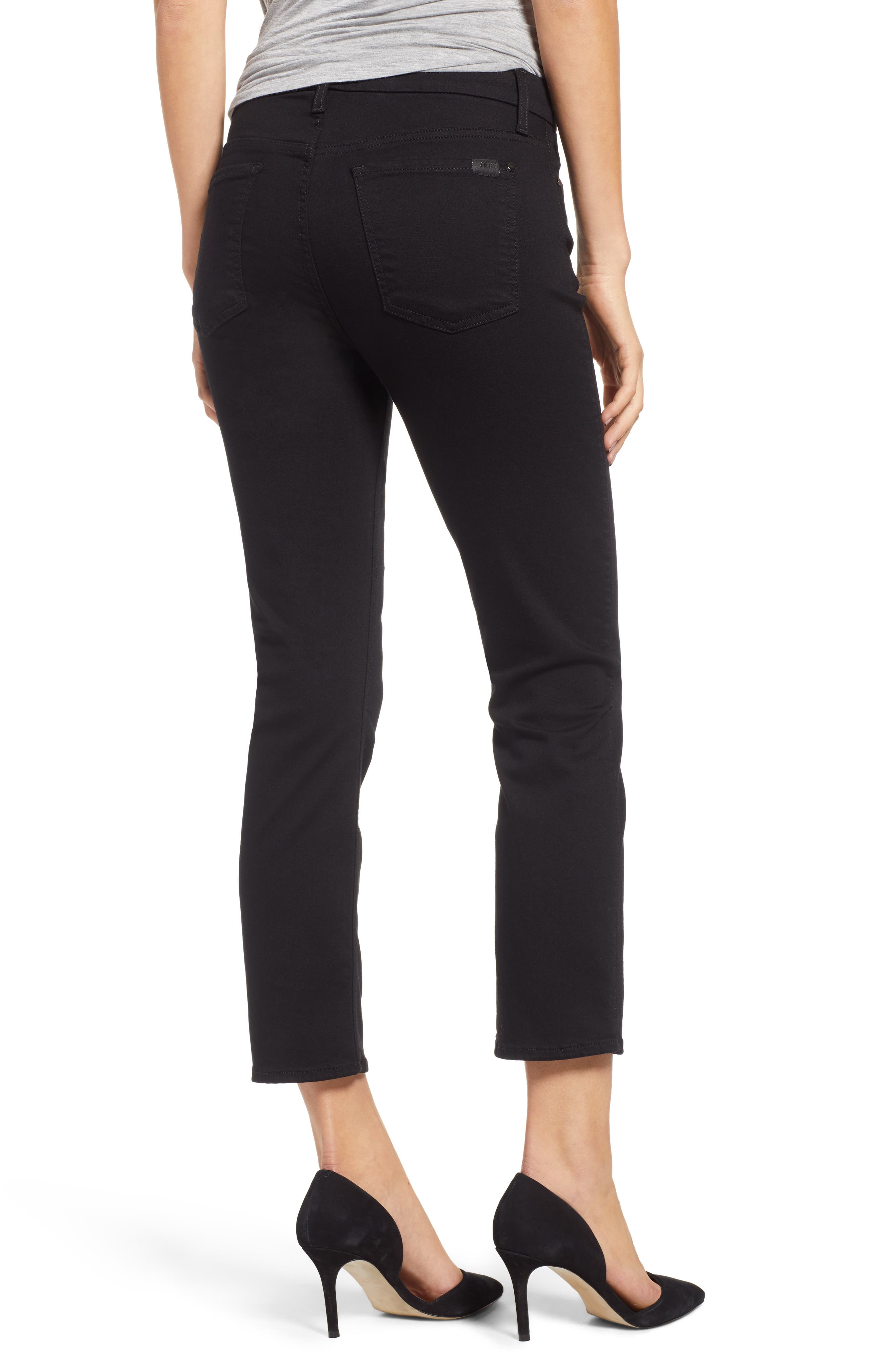JEN7 BY 7 FOR ALL MANKIND, Stretch Crop Straight Leg Jeans, Alternate thumbnail 2, color, BLACK