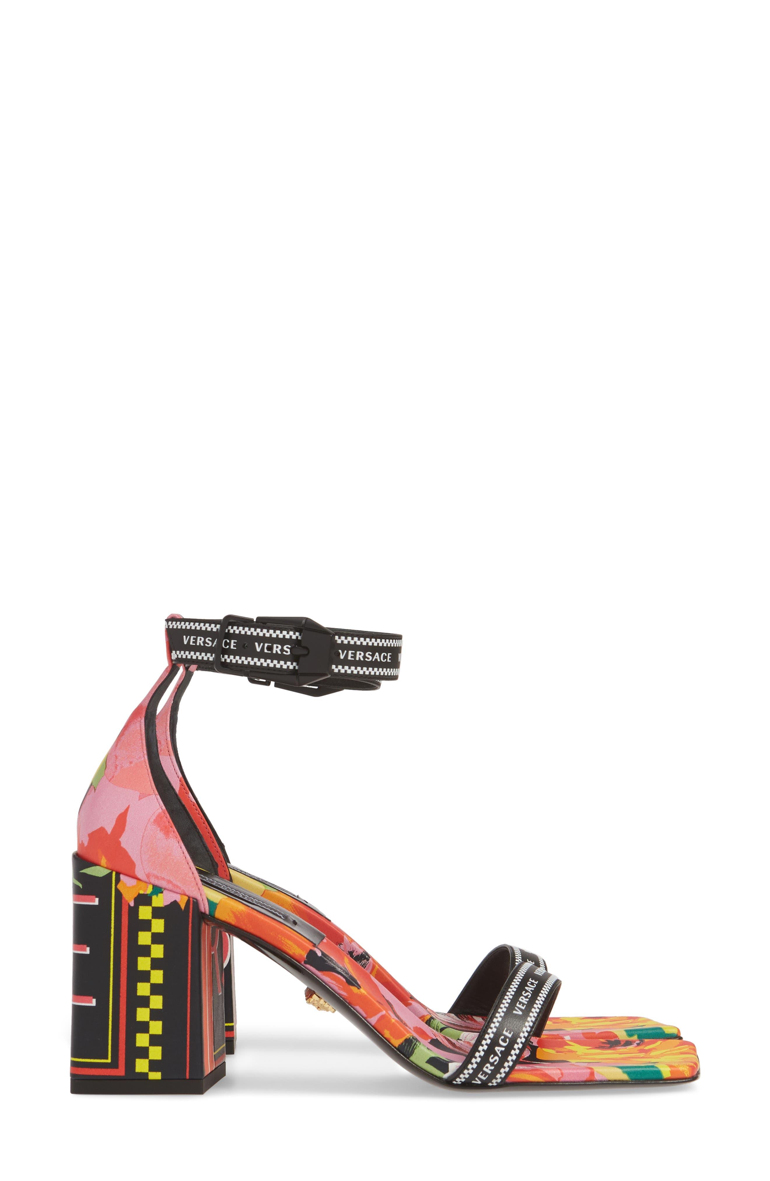 VERSACE FIRST LINE, Floral Logo Ankle Strap Sandal, Alternate thumbnail 4, color, BLACK PRINT