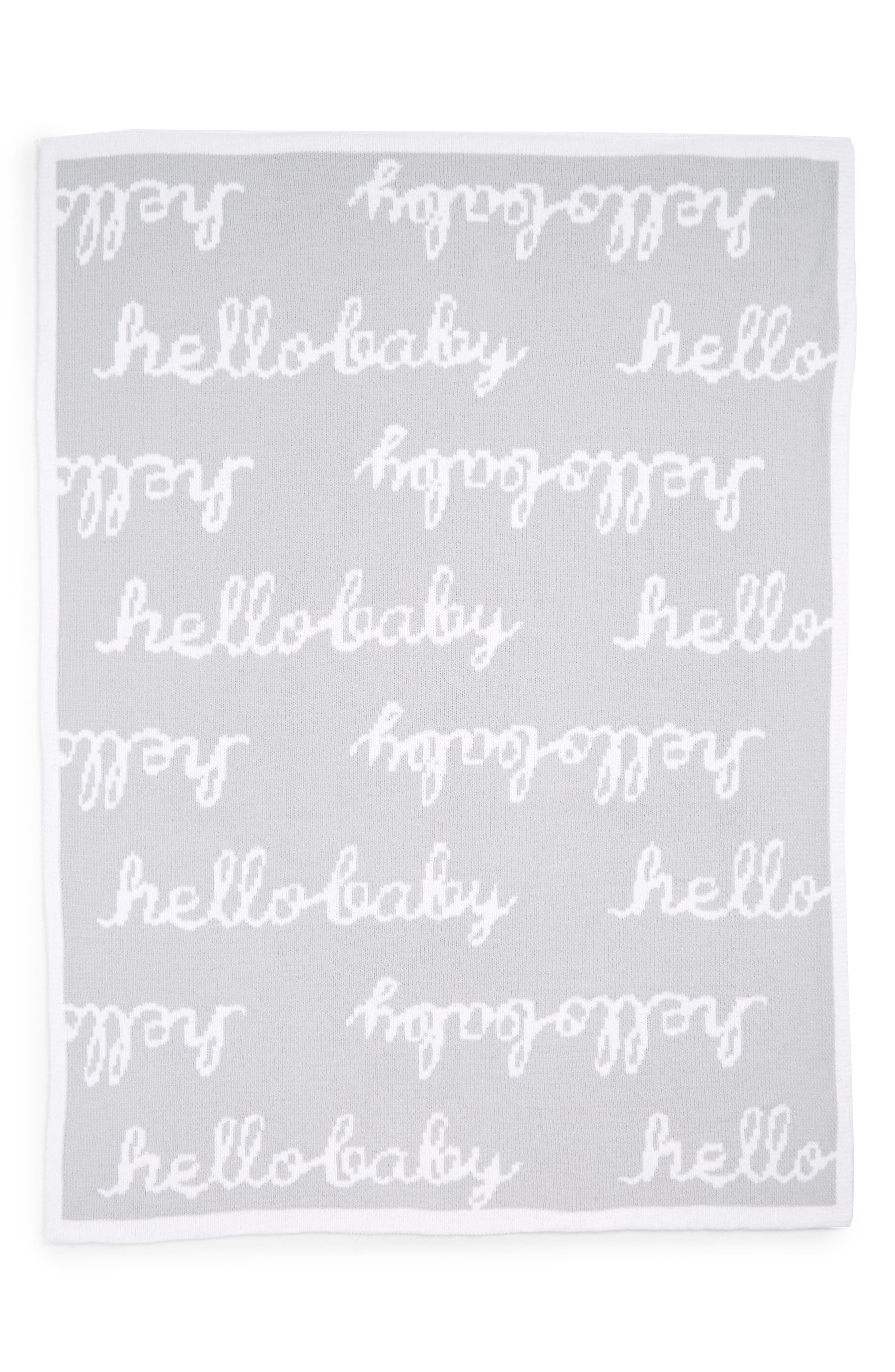 NORDSTROM BABY, Chenille Blanket, Alternate thumbnail 2, color, GREY MICRO HELLO BABY