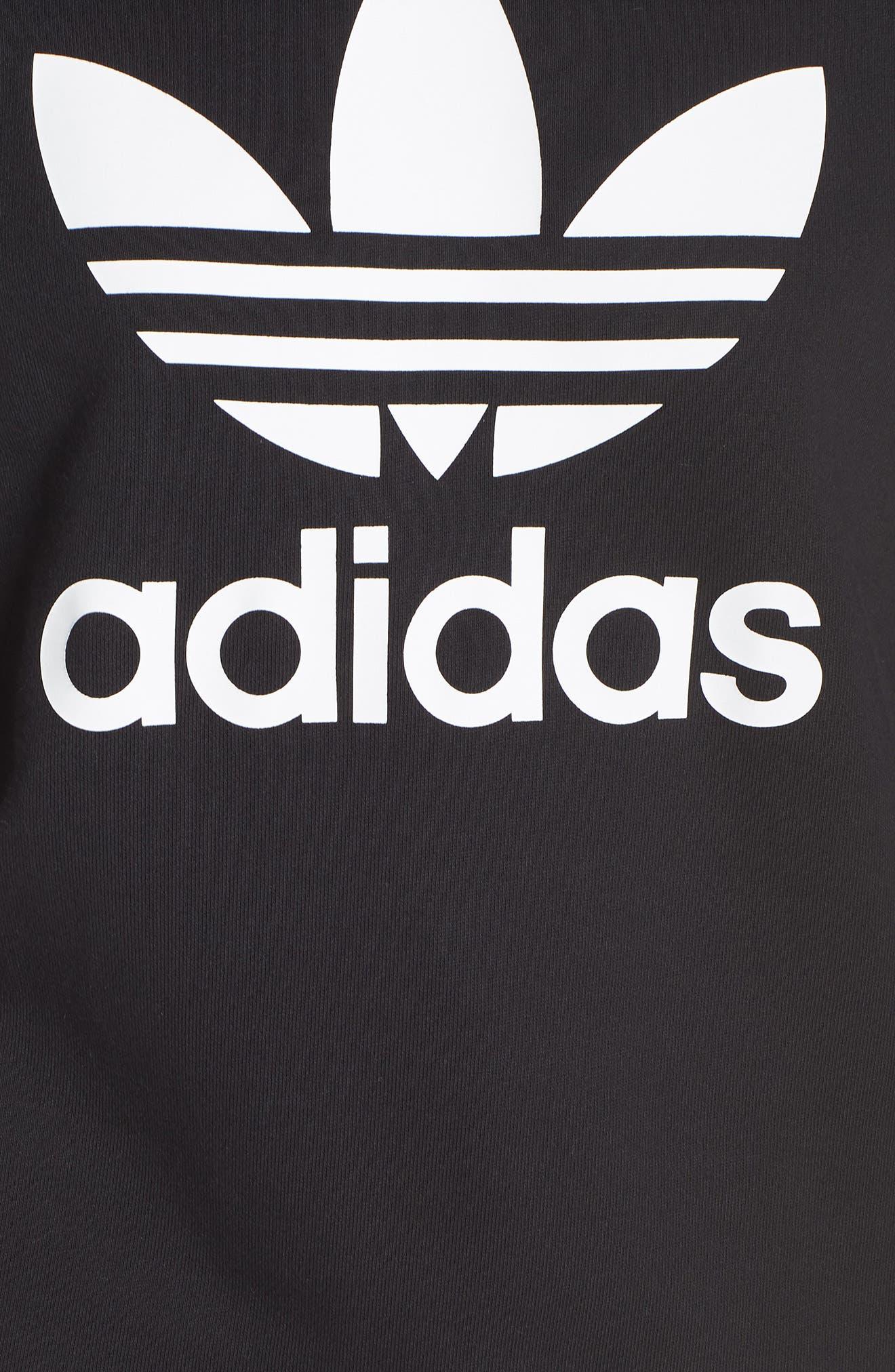 ADIDAS ORIGINALS, Trefoil Sweatshirt, Alternate thumbnail 6, color, 001