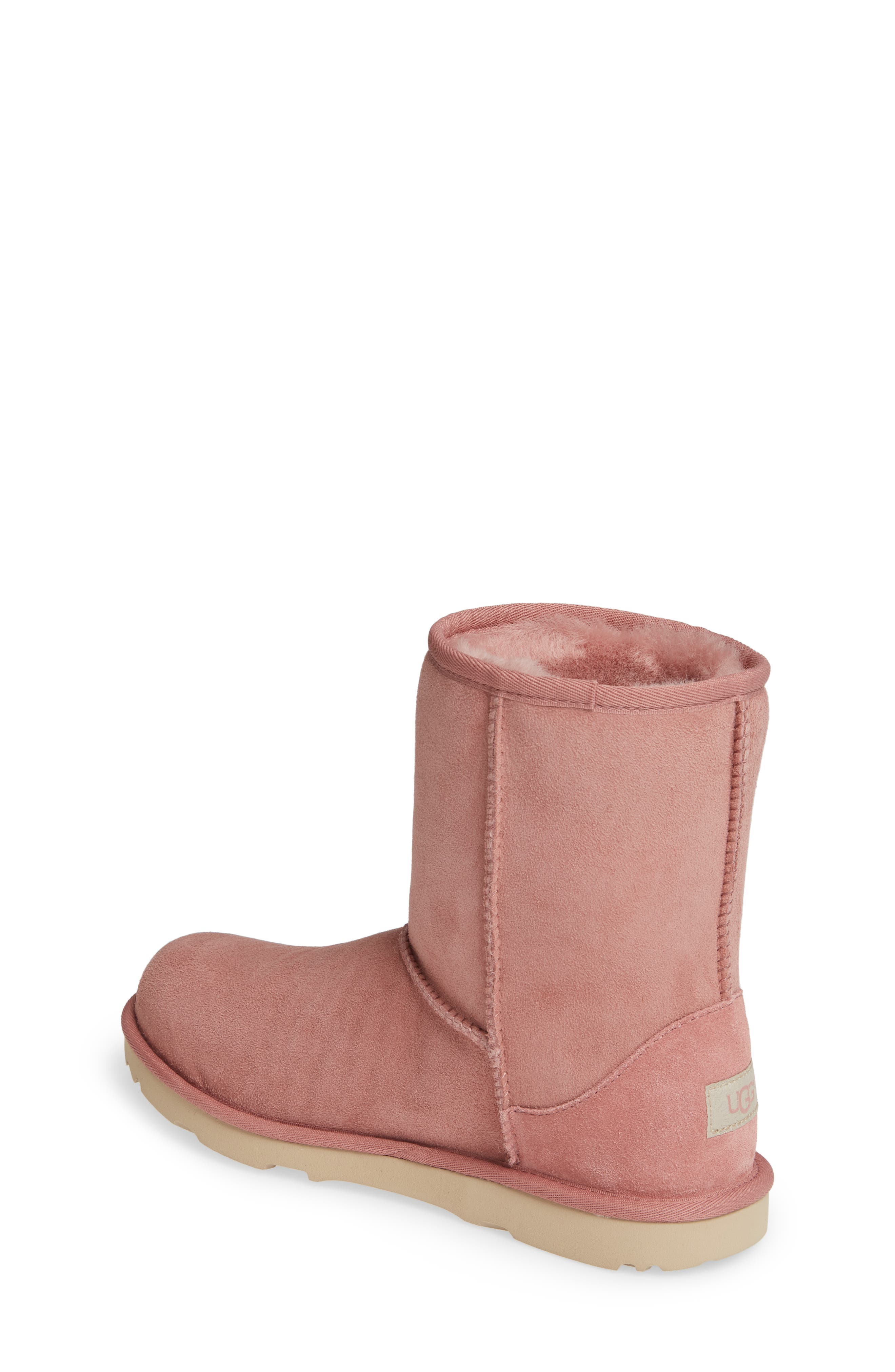UGG<SUP>®</SUP>, Classic Short II Water Resistant Genuine Shearling Boot, Alternate thumbnail 2, color, PINK DAWN