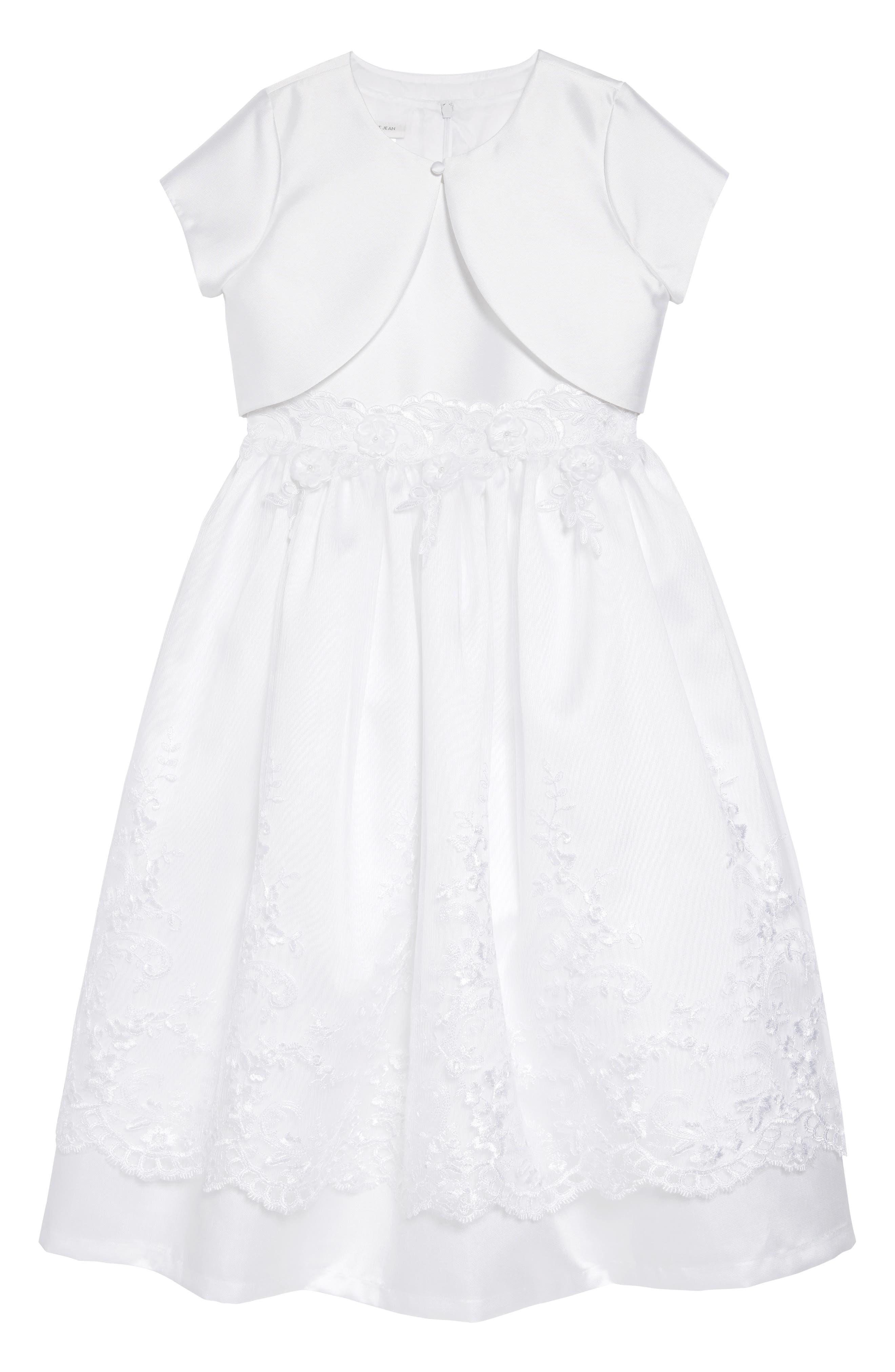 IRIS & IVY, Sweetheart Fit & Flare Mikado Dress & Jacket Set, Main thumbnail 1, color, WHITE