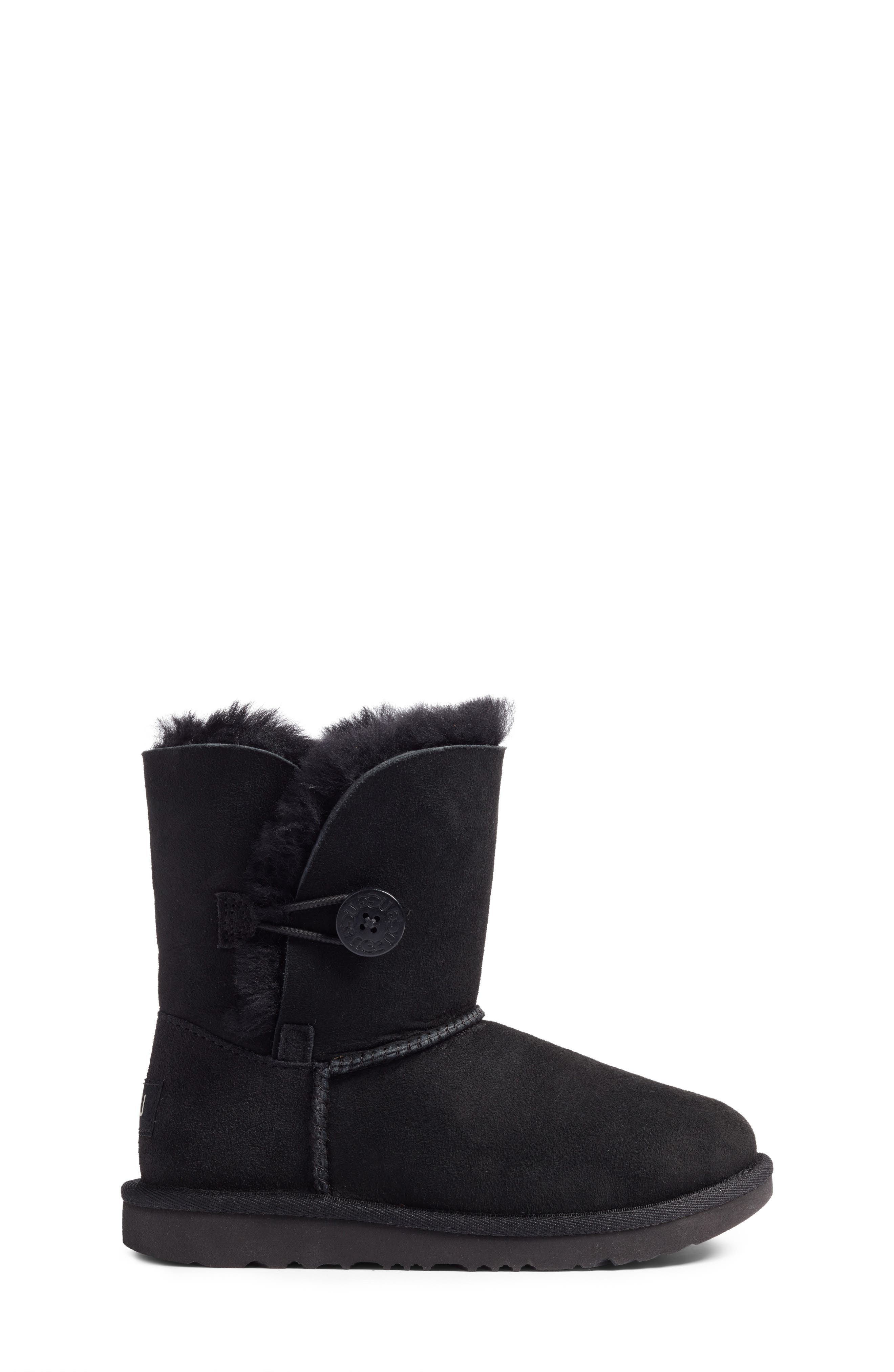 UGG<SUP>®</SUP>, Bailey Button II Water Resistant Genuine Shearling Boot, Alternate thumbnail 3, color, BLACK SUEDE