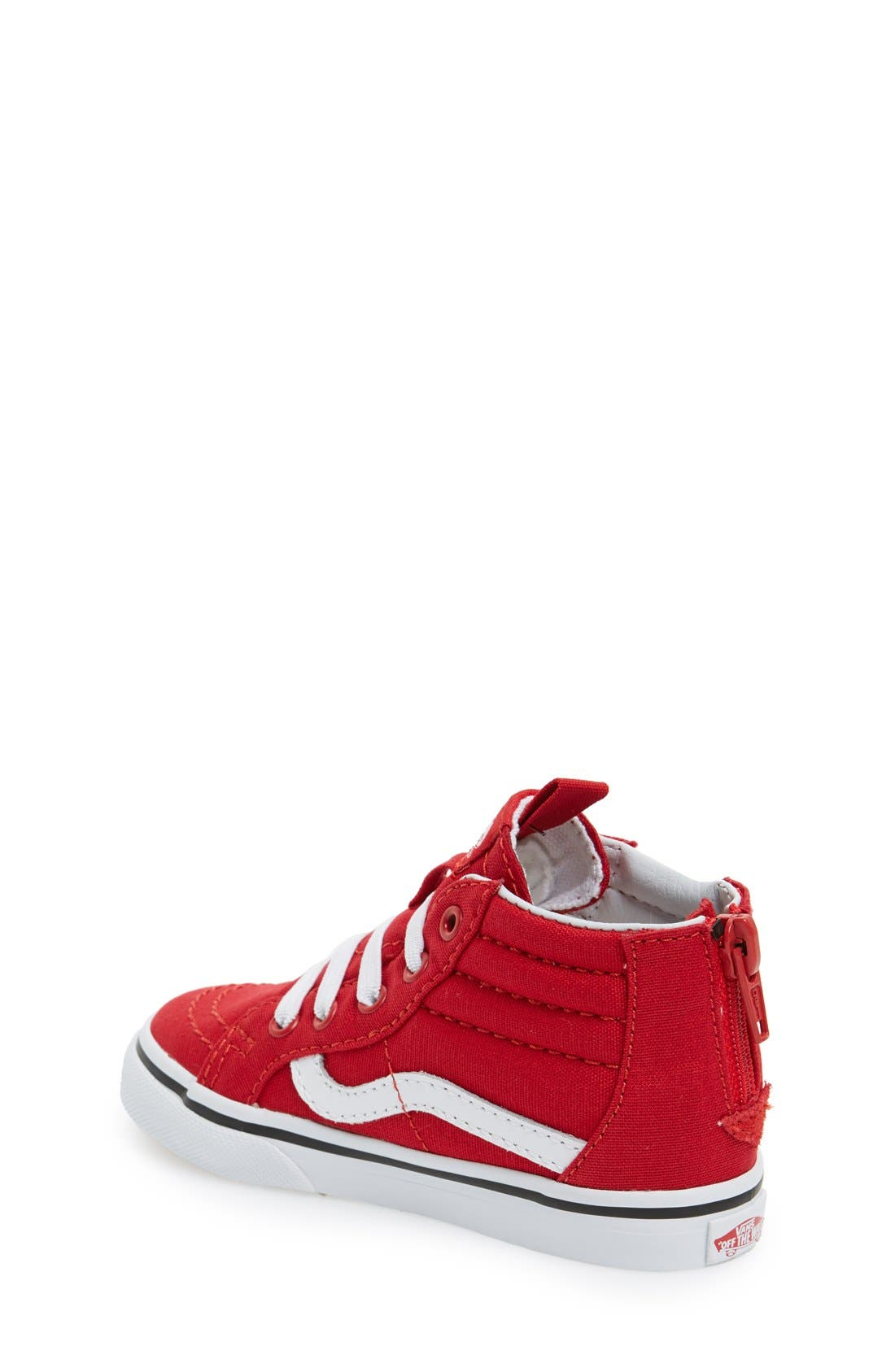 VANS, 'Sk8-Hi' Zip Sneaker, Alternate thumbnail 3, color, RACING RED/TRUE WHITE