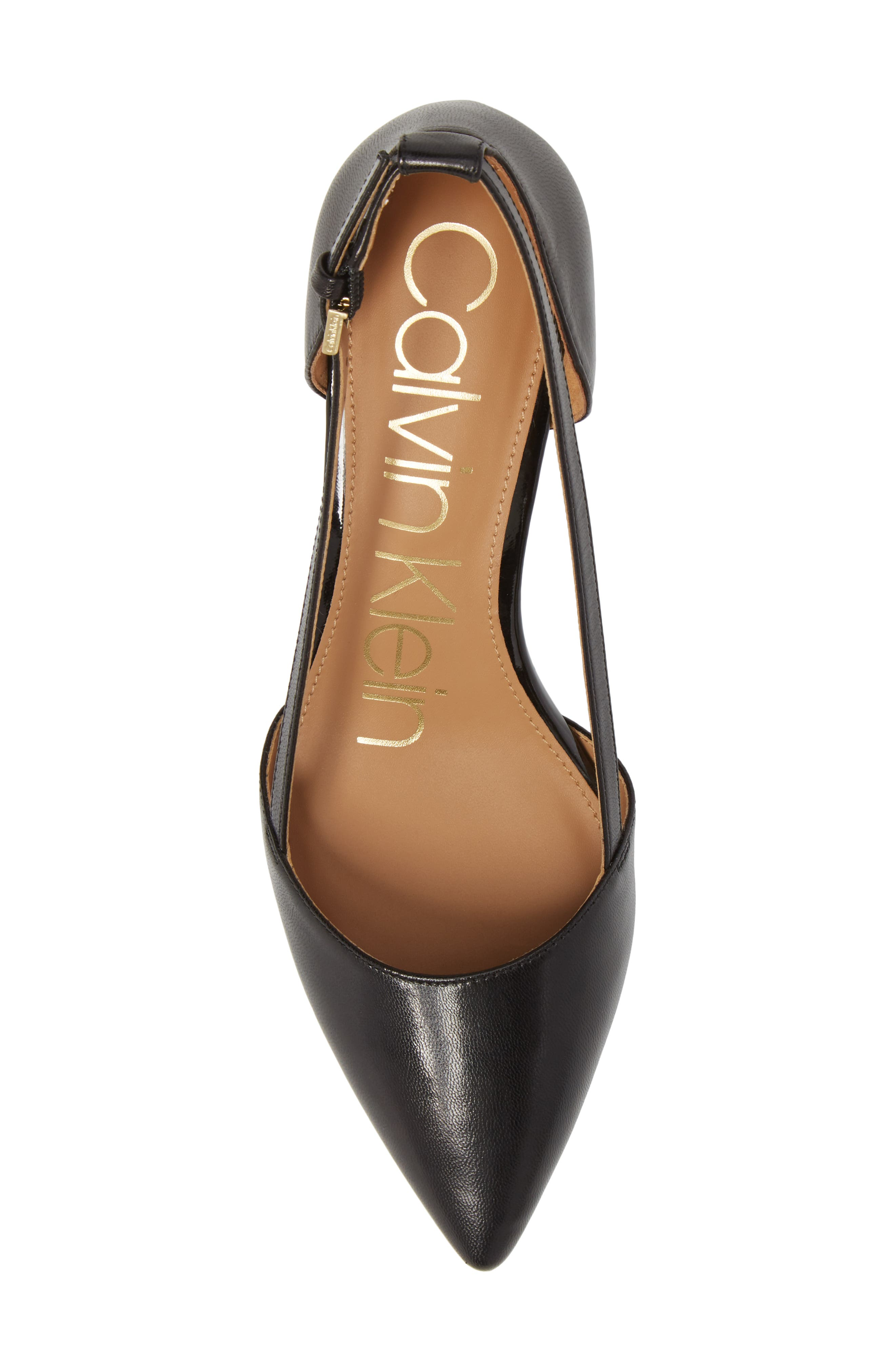 CALVIN KLEIN, Pashka Strappy Open Sided Pump, Alternate thumbnail 5, color, 001