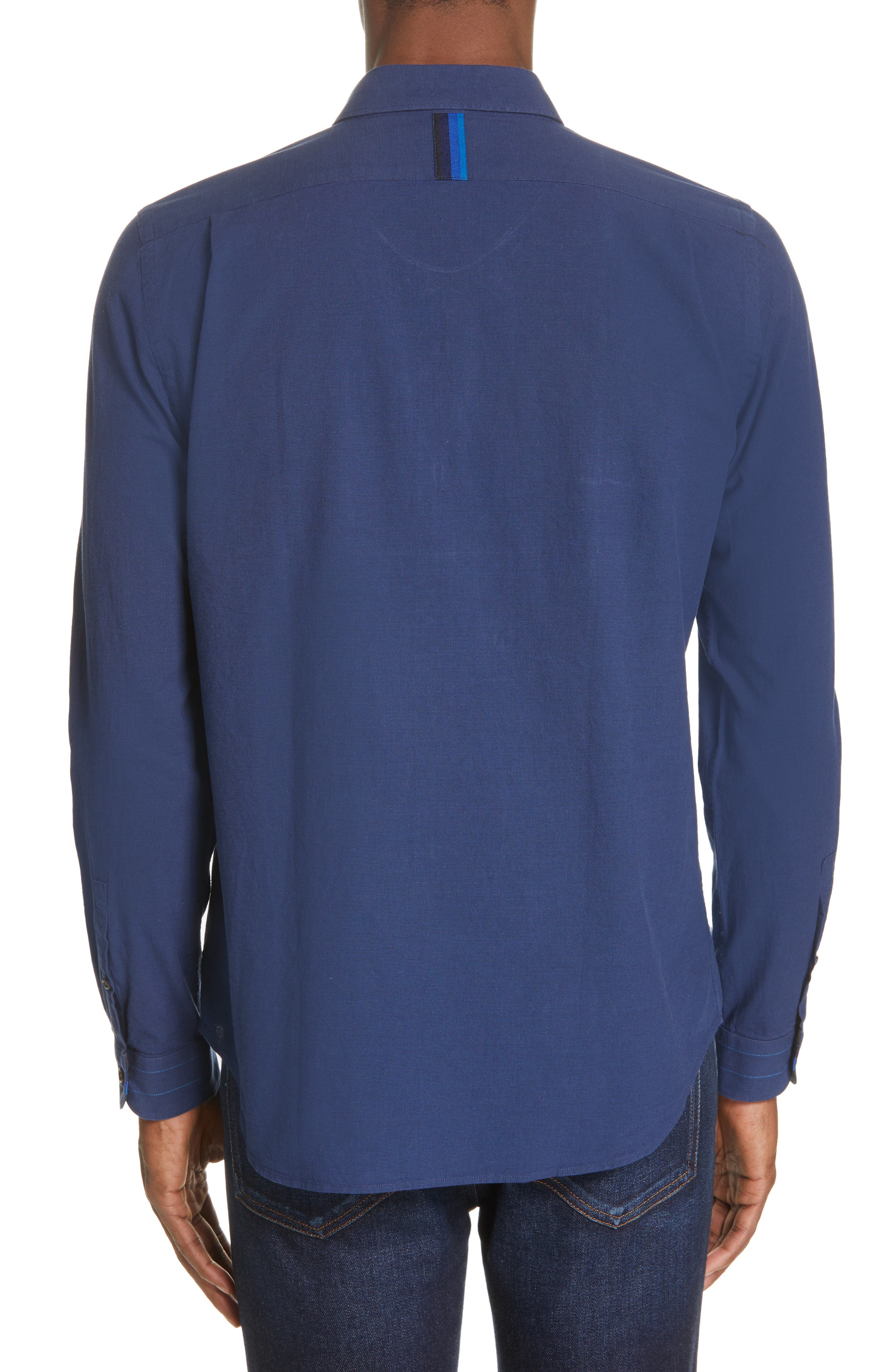 PS PAUL SMITH, Contrast Sport Shirt, Alternate thumbnail 3, color, BLUE