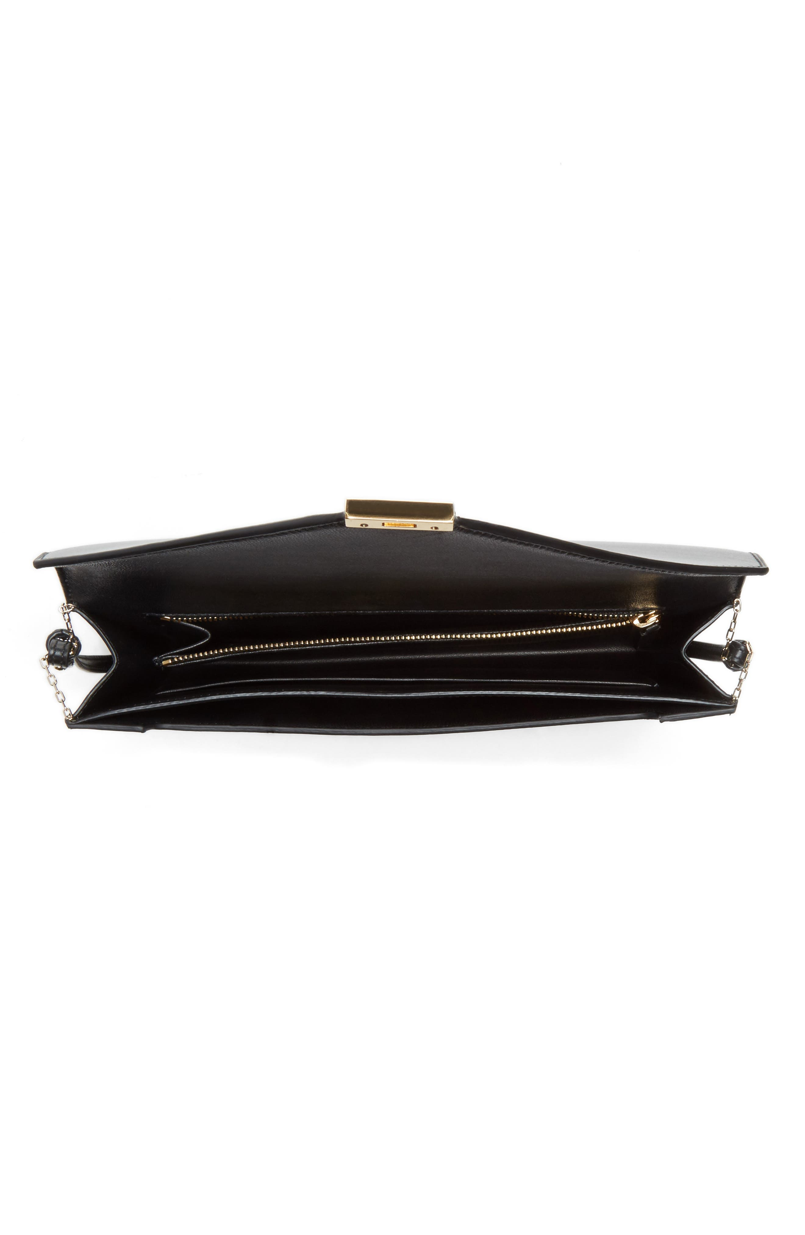 VICTORIA BECKHAM, Leather Wallet on a Chain, Alternate thumbnail 3, color, BLACK