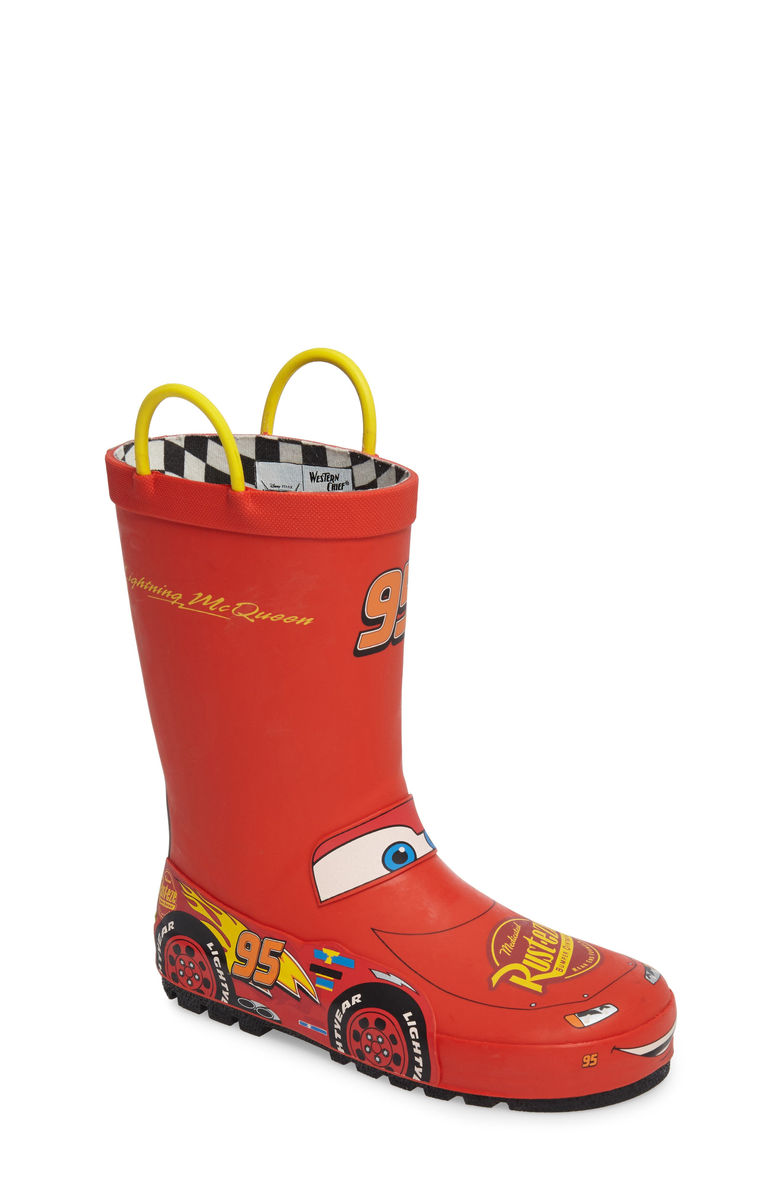 WESTERN CHIEF, Lightning McQueen Waterproof Rain Boot, Main thumbnail 1, color, RED