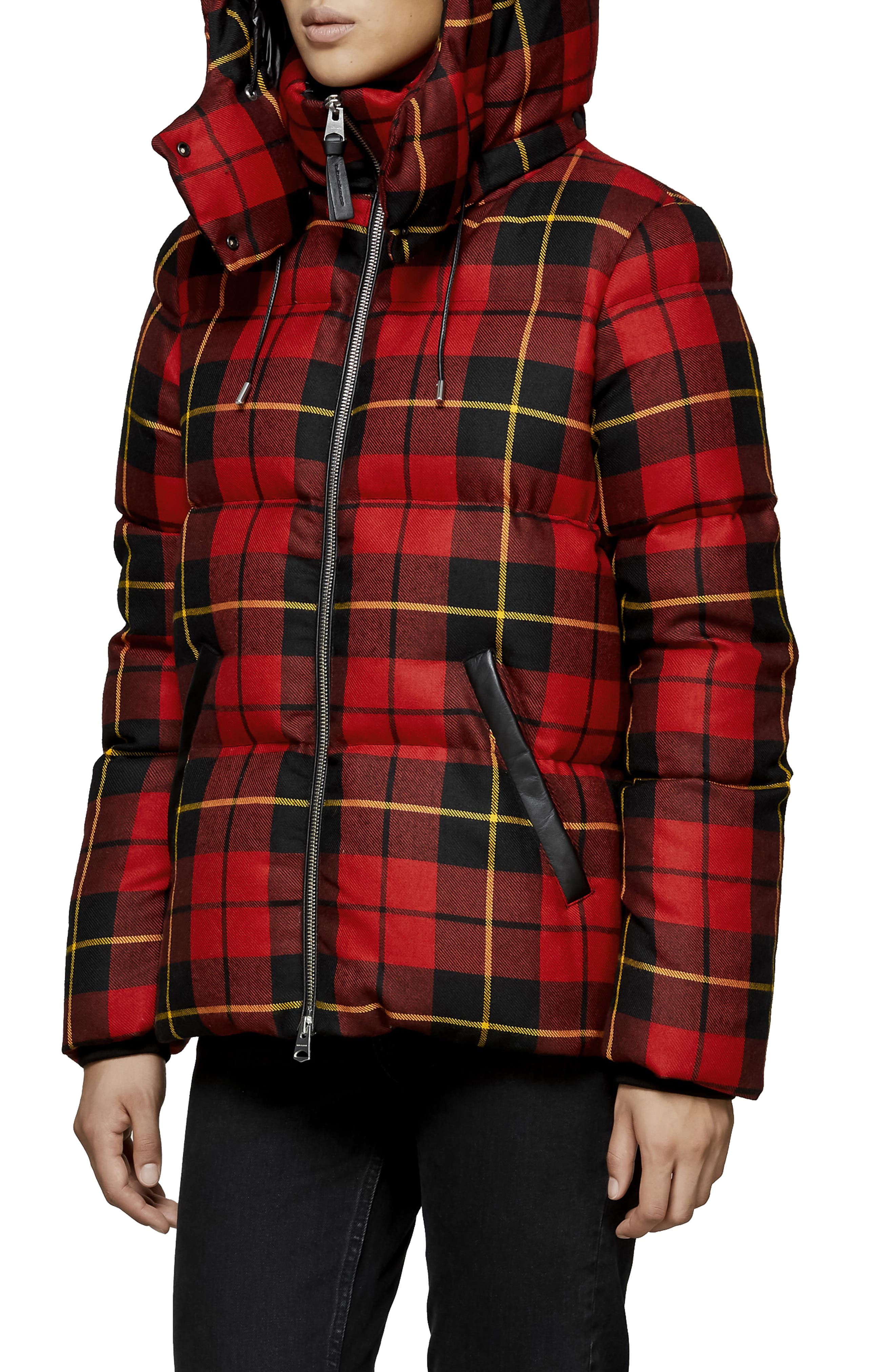 MACKAGE, Miley Wool Down Puffer Jacket, Alternate thumbnail 4, color, RED