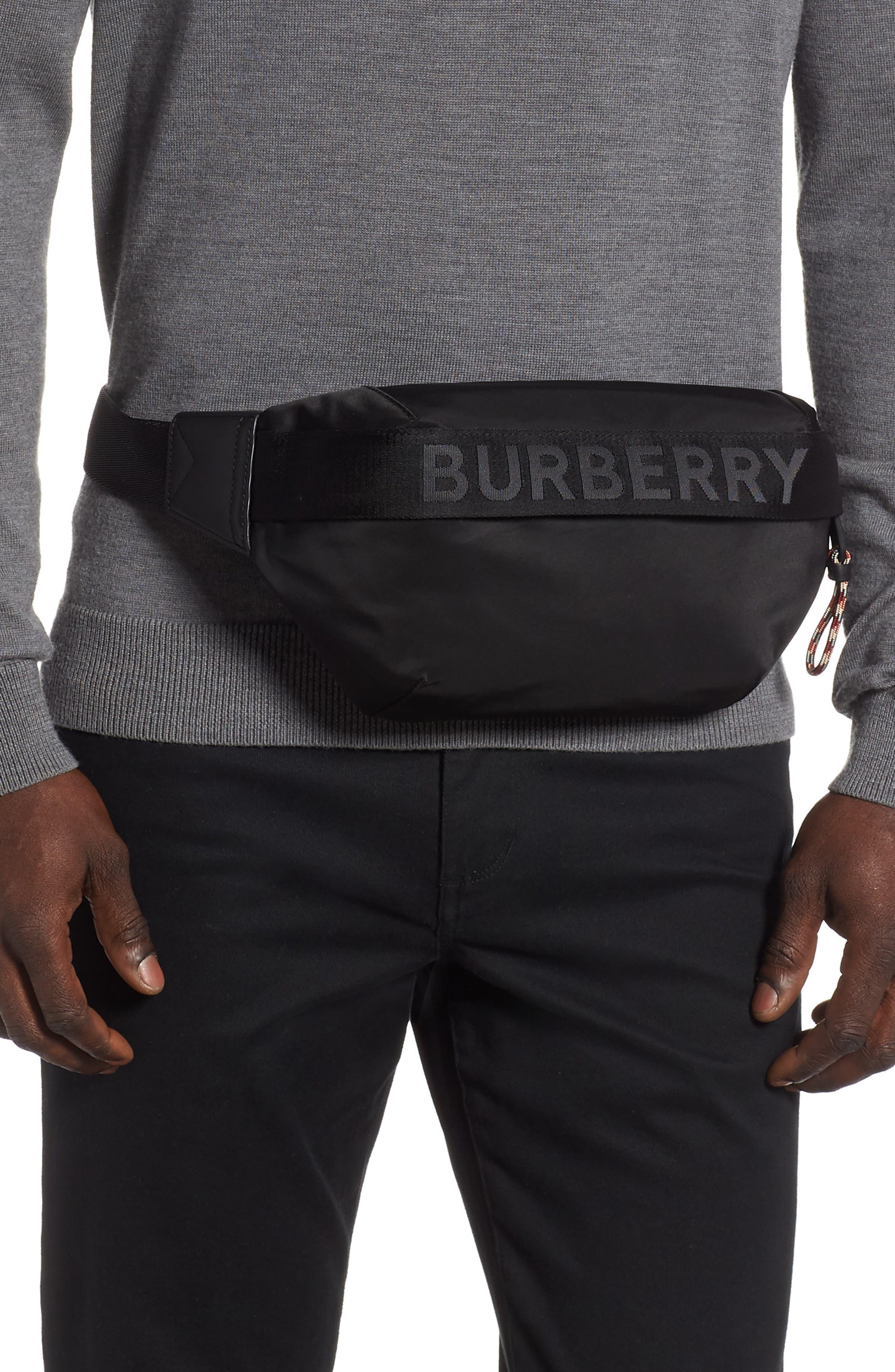 BURBERRY, Medium Sonny Logo Belt Bag, Alternate thumbnail 2, color, BLACK