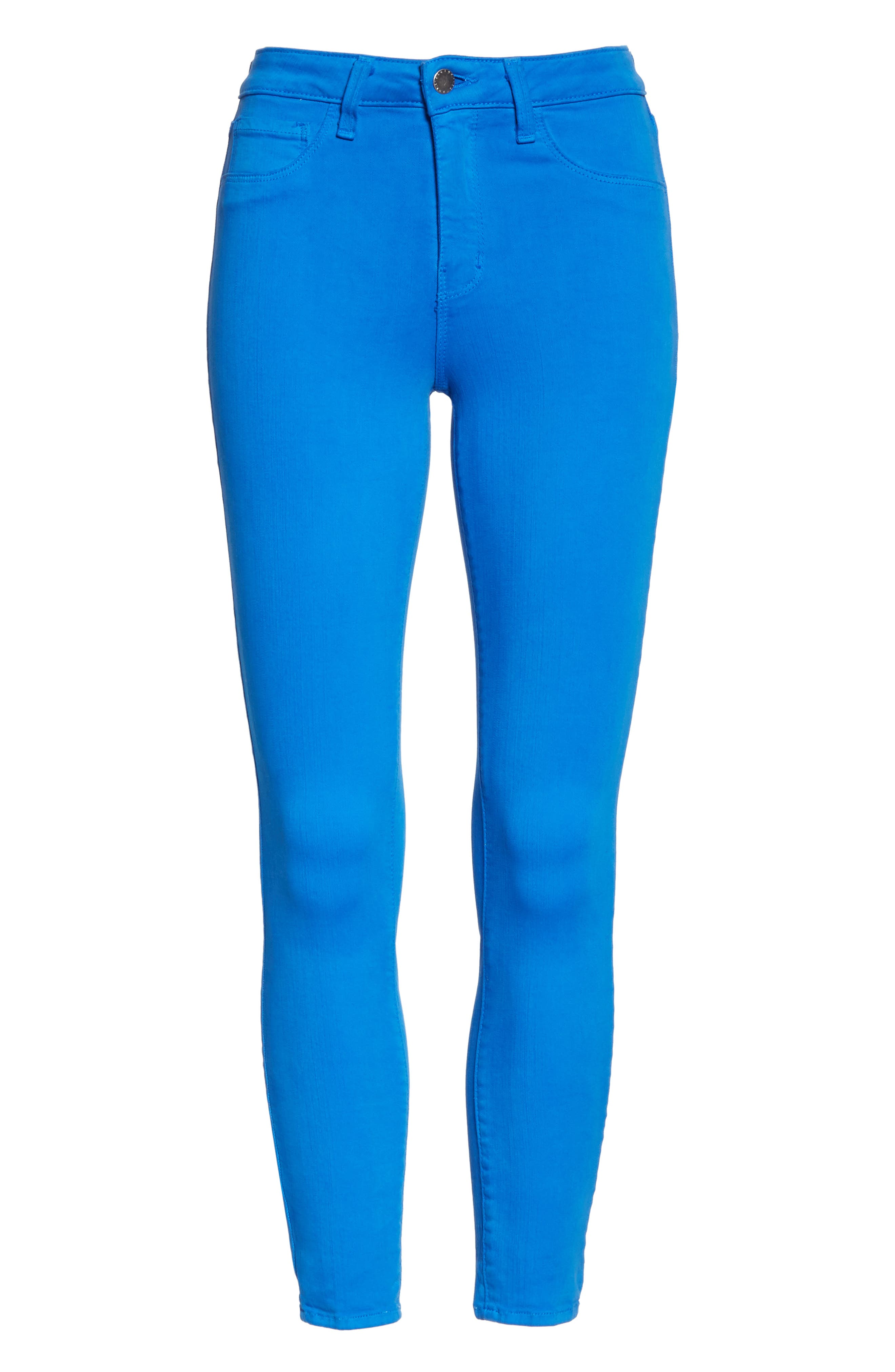 L'AGENCE, High Waist Skinny Ankle Jeans, Alternate thumbnail 7, color, RIVIERA BLUE