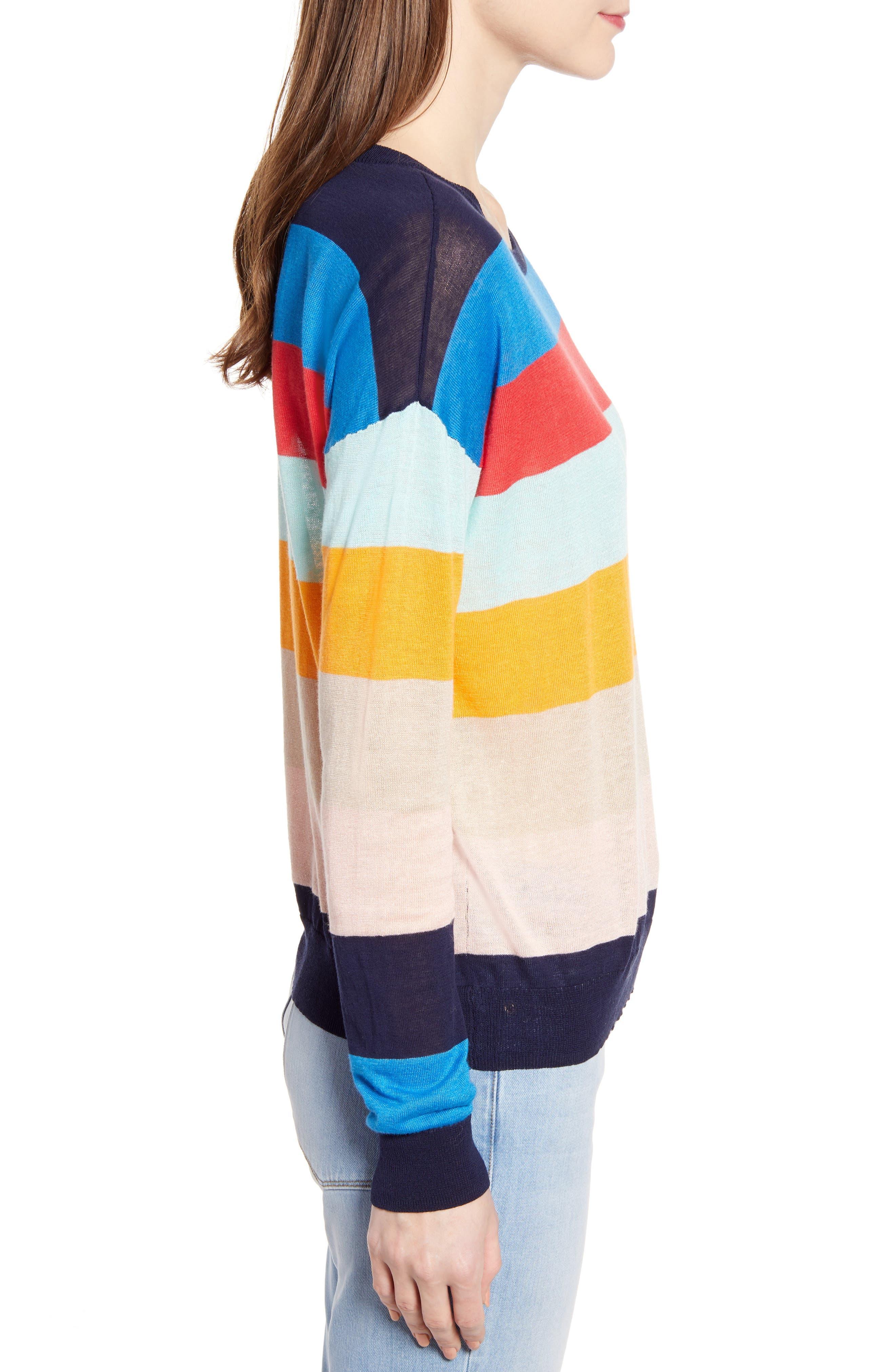 SPLENDID, Sunray Colorblock Sweater, Alternate thumbnail 3, color, BONFIRE MULTI