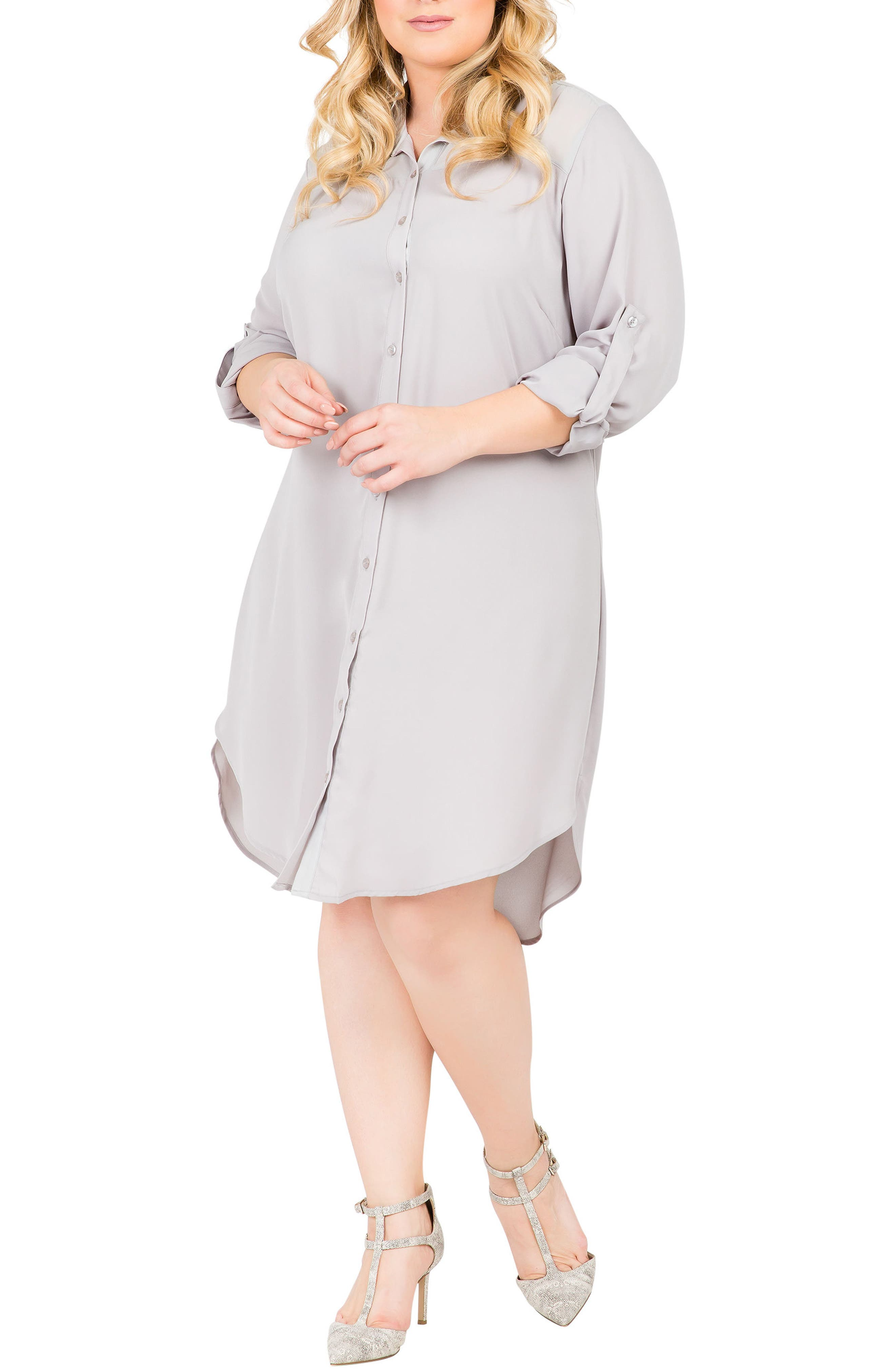 Plus Size Standards & Practices Solenn Roll Sleeve Georgette Shirtdress, Grey