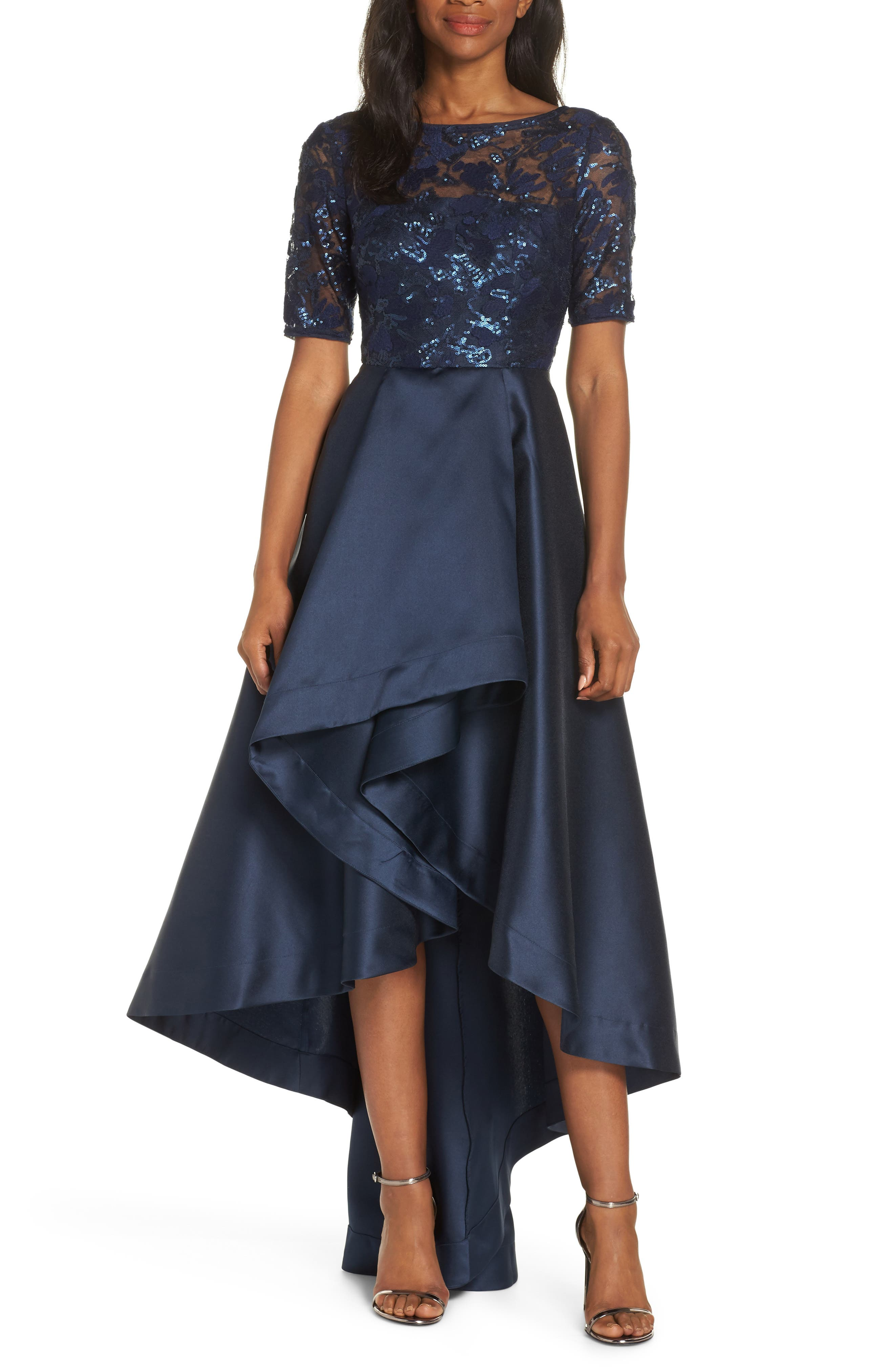 ADRIANNA PAPELL, Sequin Lace High/Low Evening Dress, Main thumbnail 1, color, MIDNIGHT