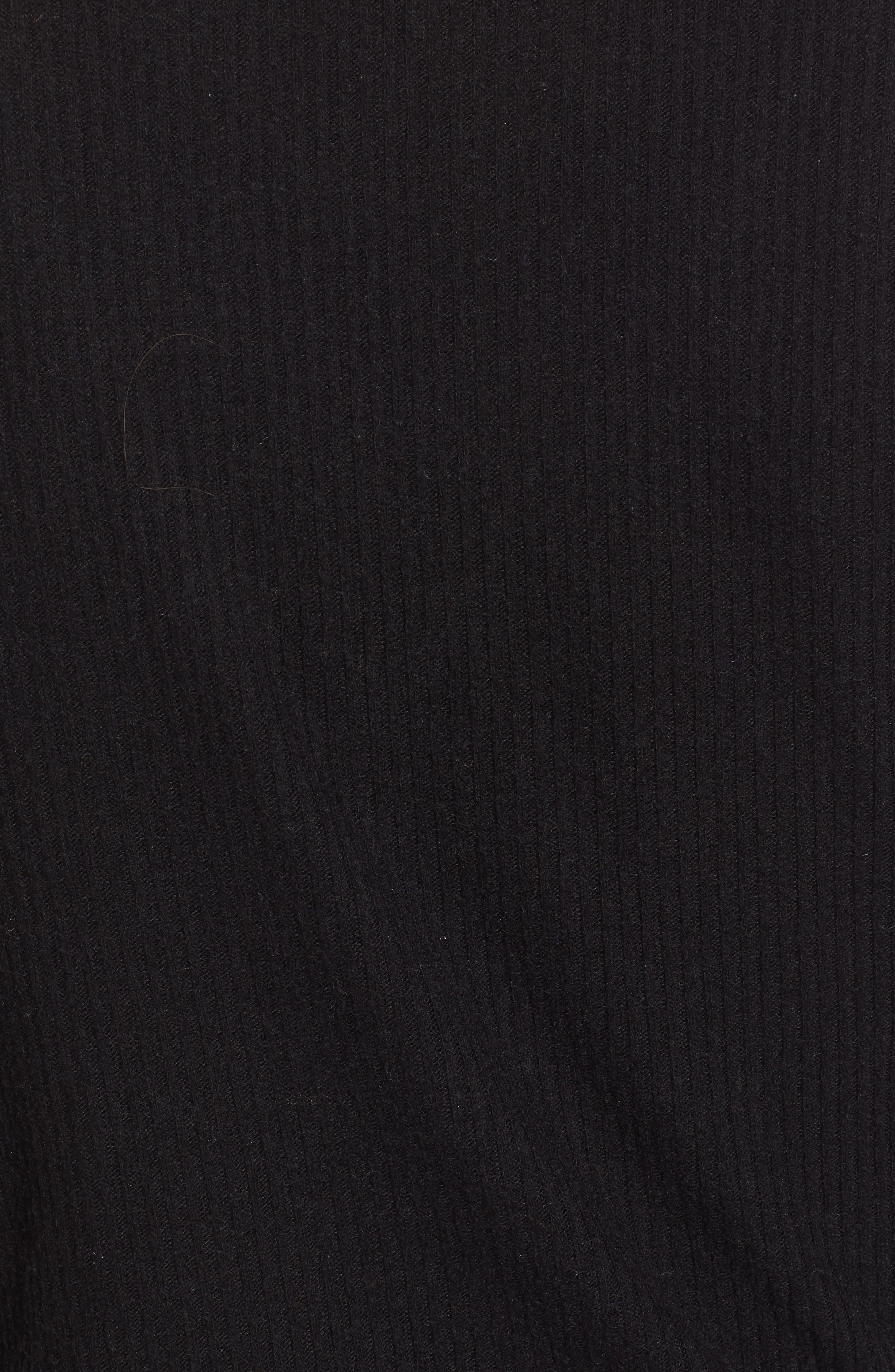 PROJECT SOCIAL T, Ramone Ribbed Top, Alternate thumbnail 5, color, BLACK