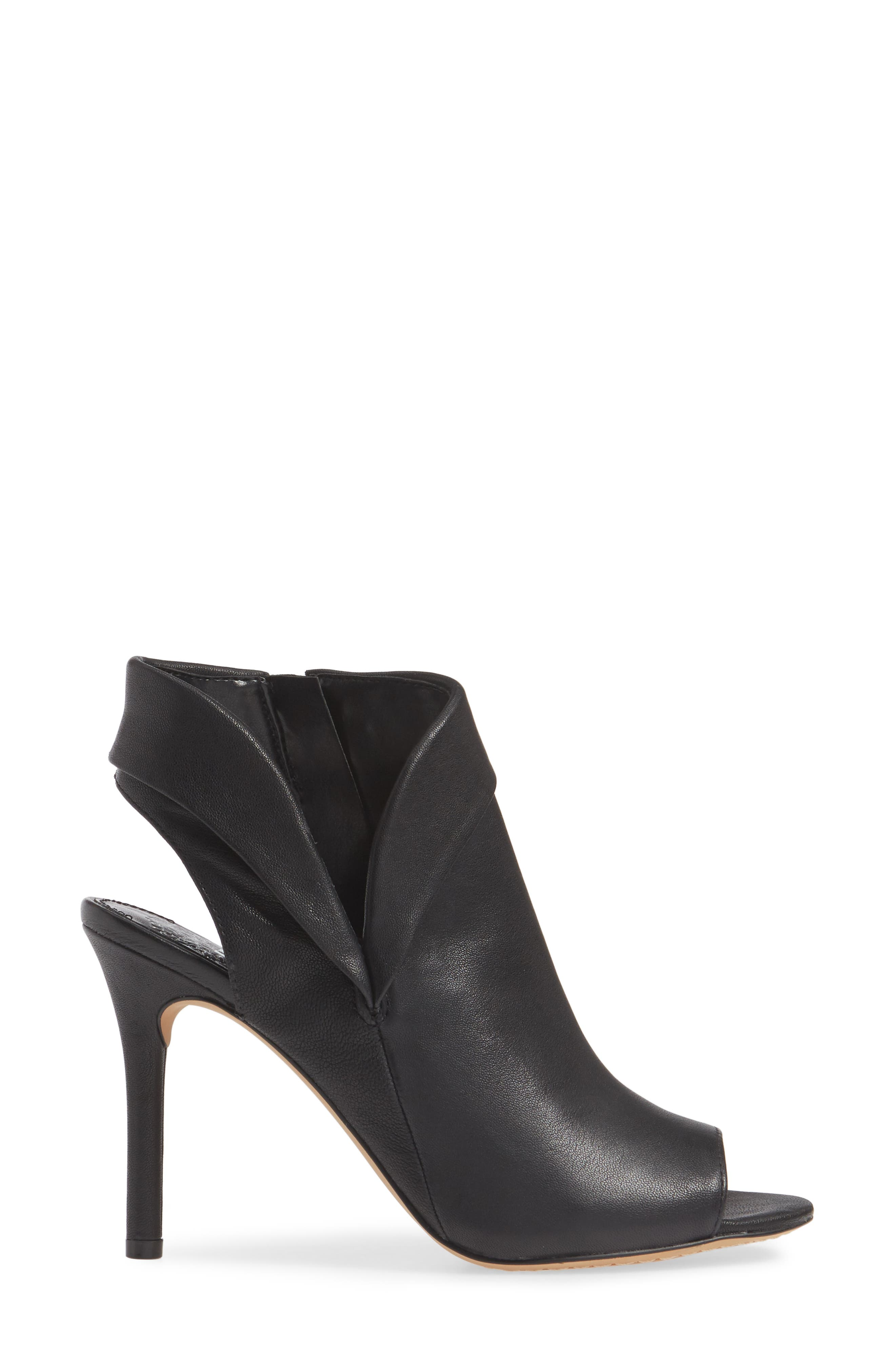 VINCE CAMUTO, Cholia Asymmetrical Sandal Bootie, Alternate thumbnail 3, color, BLACK LEATHER