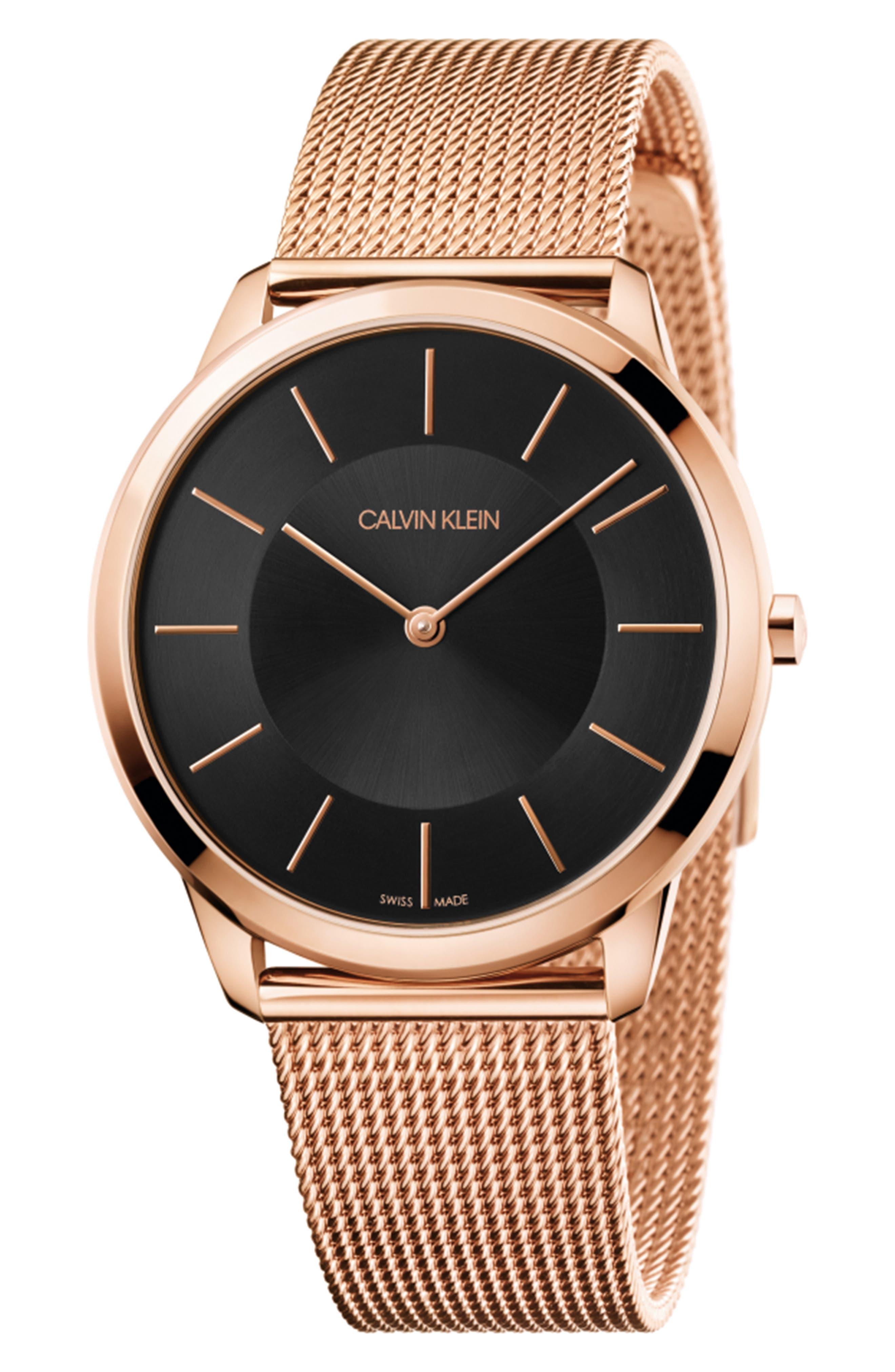 CALVIN KLEIN Minimal Mesh Strap Watch, 40mm, Main, color, ROSE GOLD/ BLACK/ ROSE GOLD