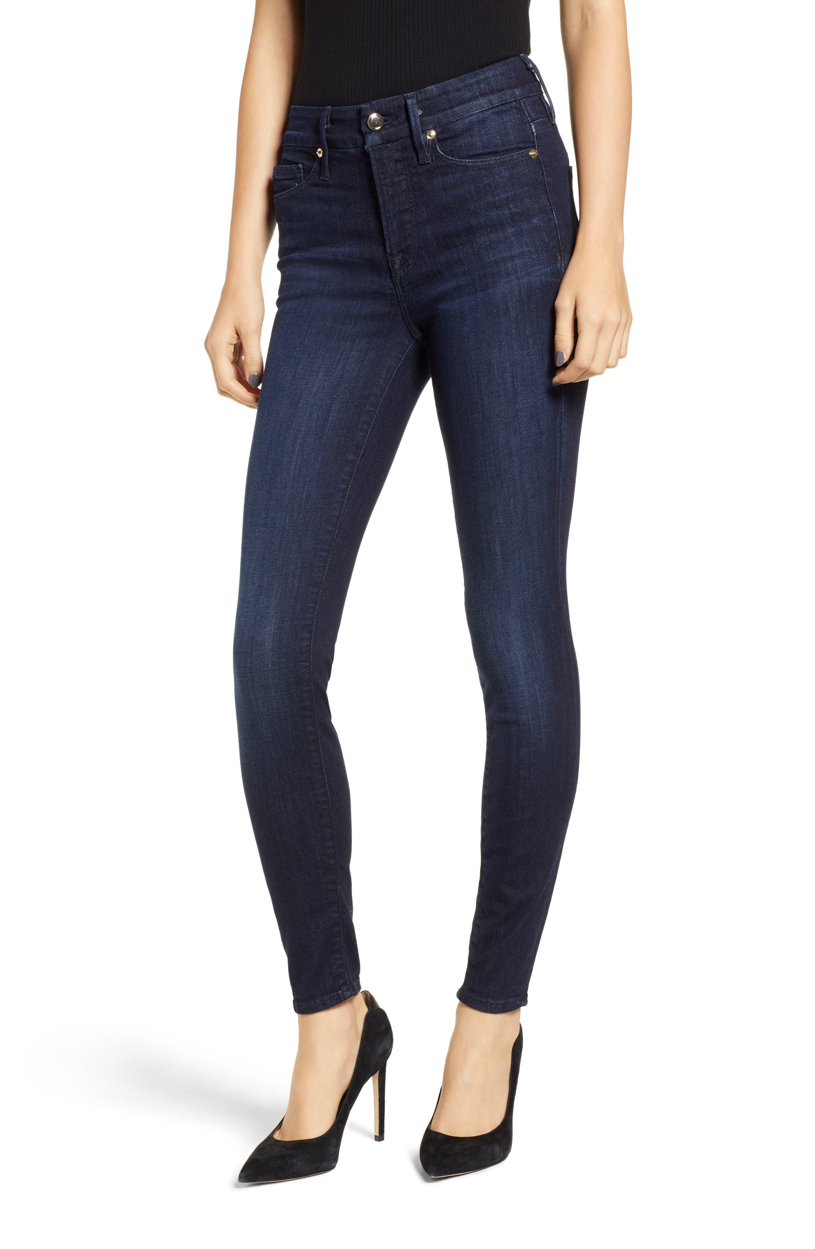 GOOD AMERICAN, Good Legs High Waist Skinny Jeans, Main thumbnail 1, color, BLUE224