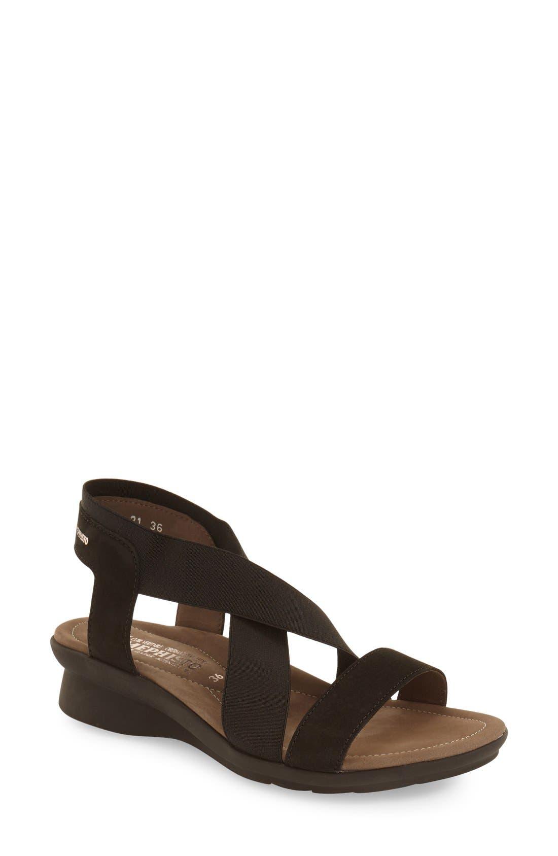 MEPHISTO, 'Pastora' Sandal, Main thumbnail 1, color, BLACK BUCKSOFT