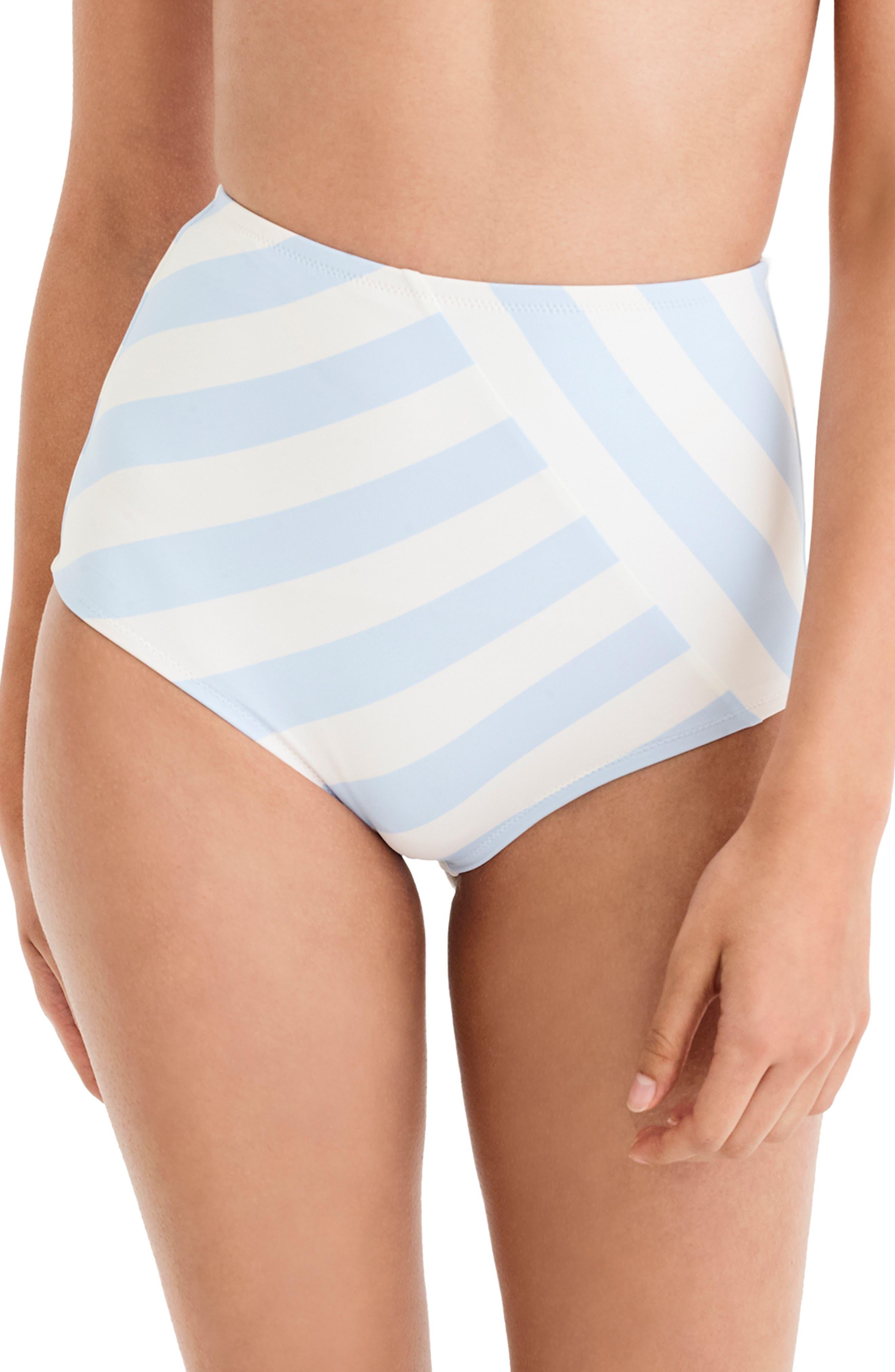 J.CREW, Stripe Seamless High Waist Bikini Bottoms, Main thumbnail 1, color, 400