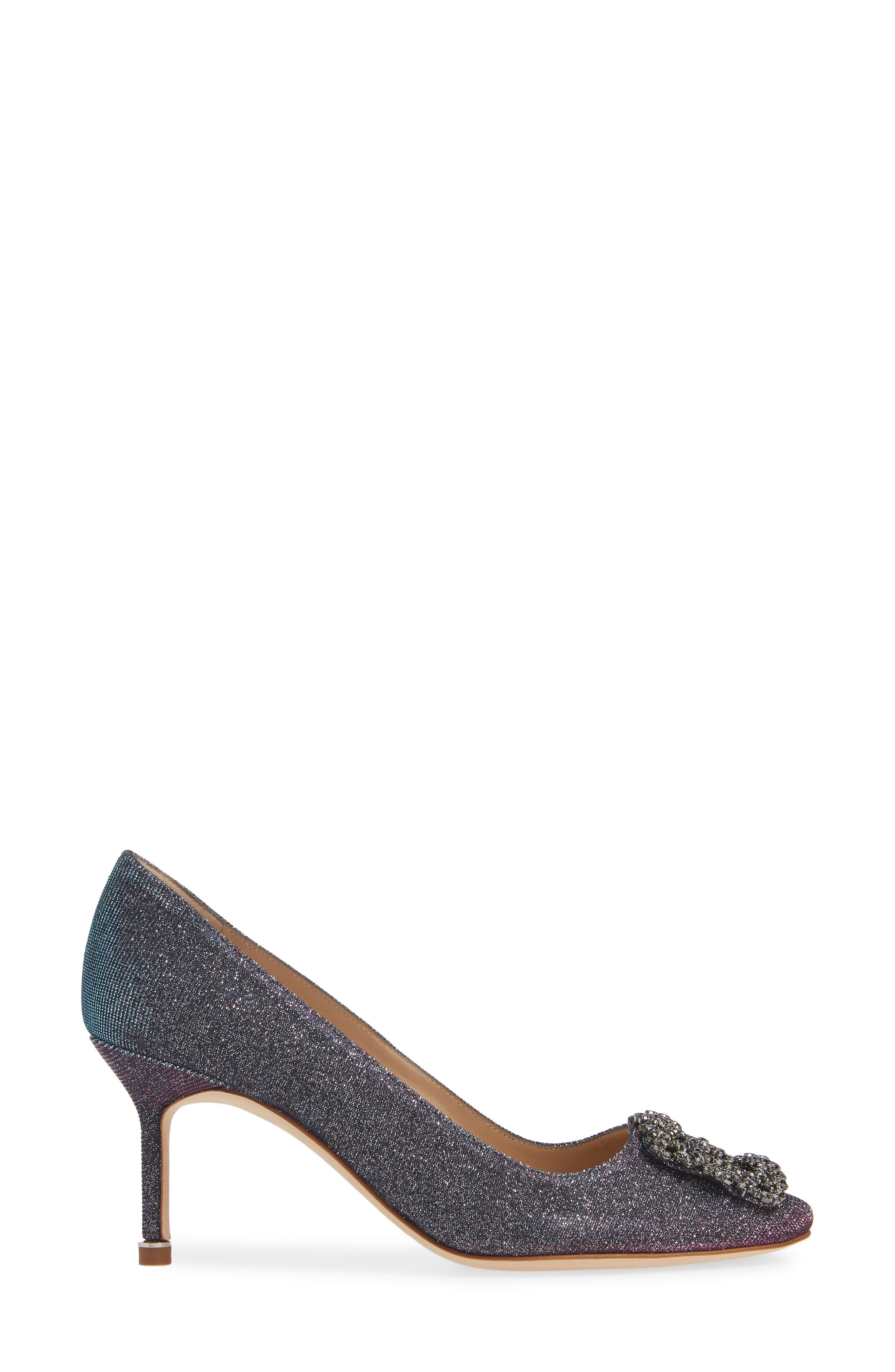 MANOLO BLAHNIK, Hangisi Pump, Alternate thumbnail 3, color, MIDNIGHT BLUE