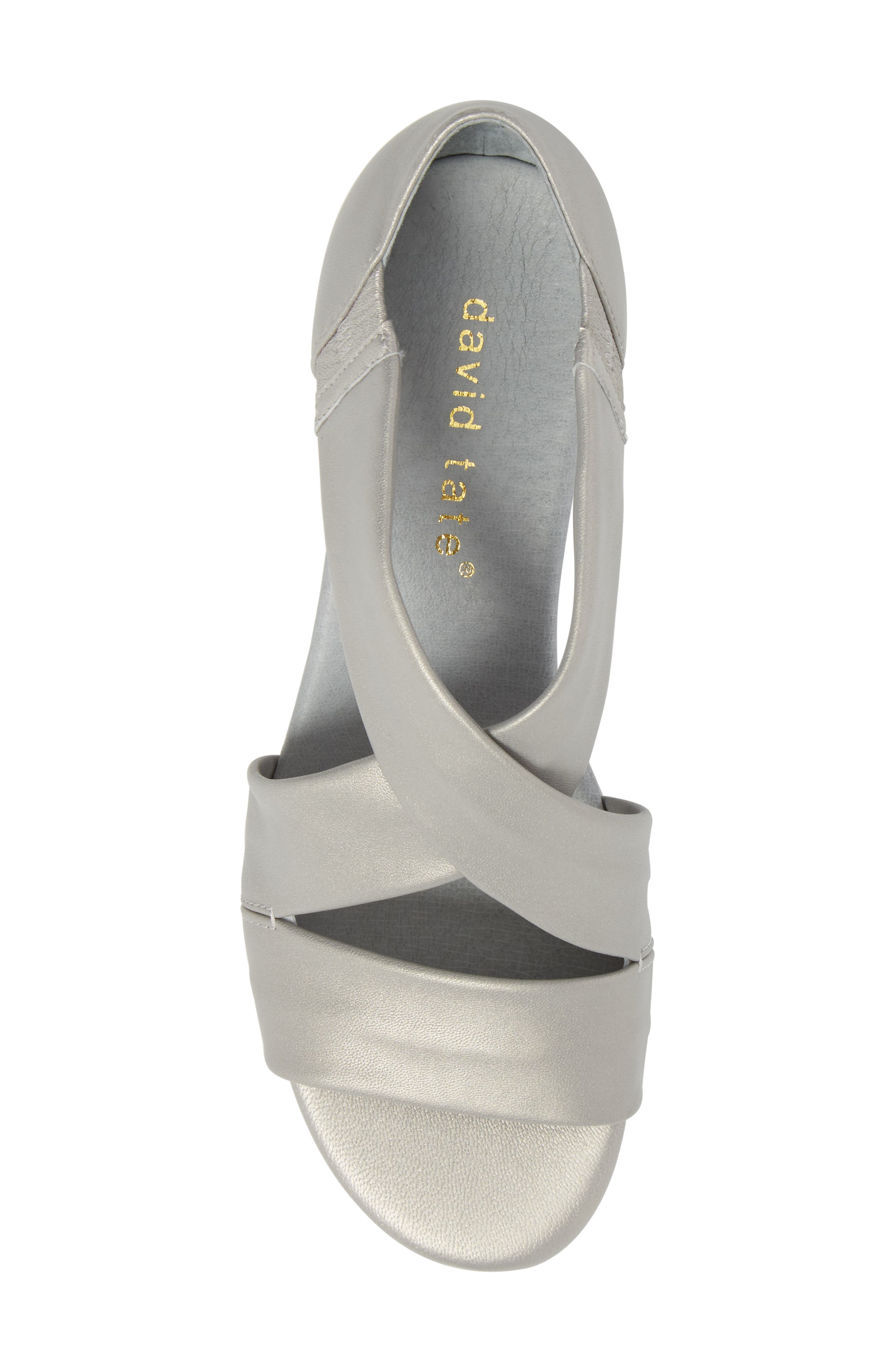 DAVID TATE, Swell Cross Strap Wedge Sandal, Alternate thumbnail 5, color, SILVER LEATHER