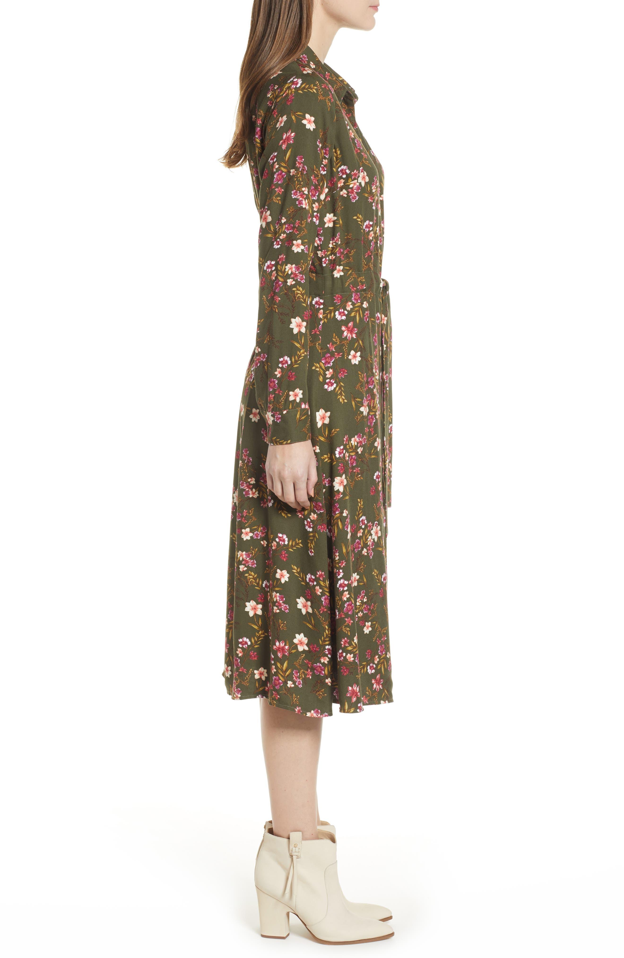 BP., Floral Midi Dress, Alternate thumbnail 4, color, OLIVE BURNT SAVANNAH FLORAL