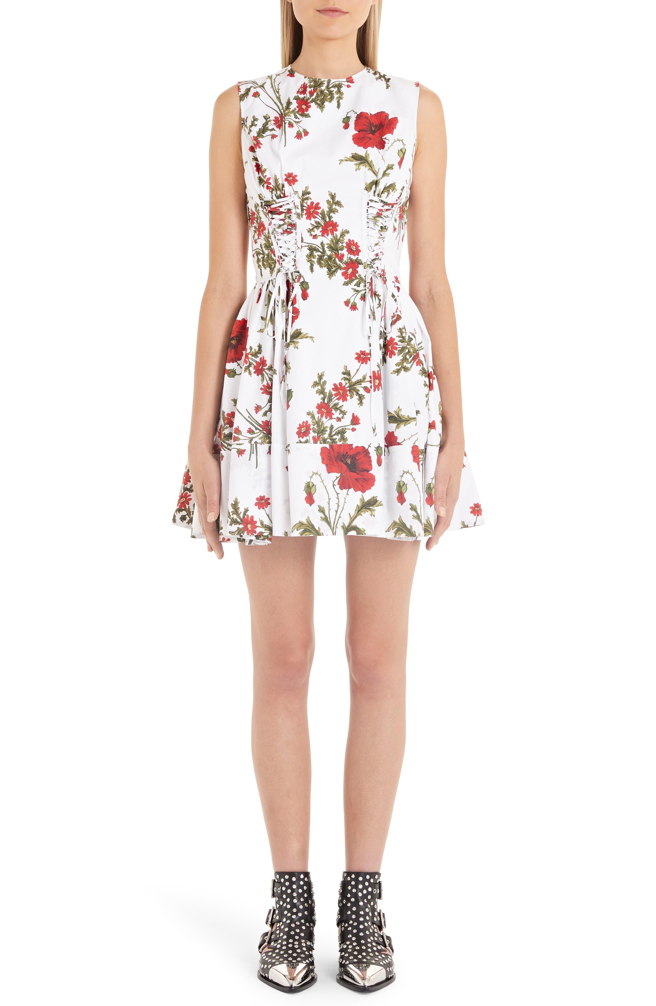 Alexander Mcqueen Poppyfield Print Poplin Corset Dress, US / 46 IT - Ivory