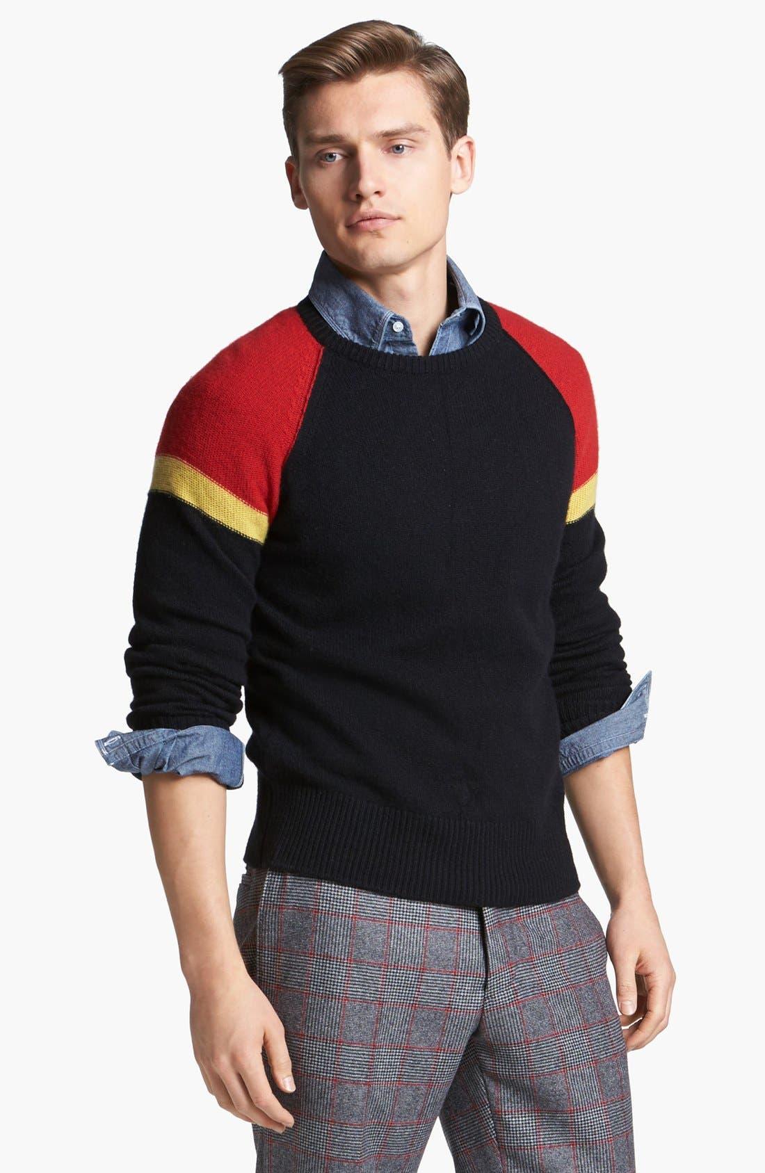 MICHAEL BASTIAN, Cashmere Crewneck Sweater, Main thumbnail 1, color, 001